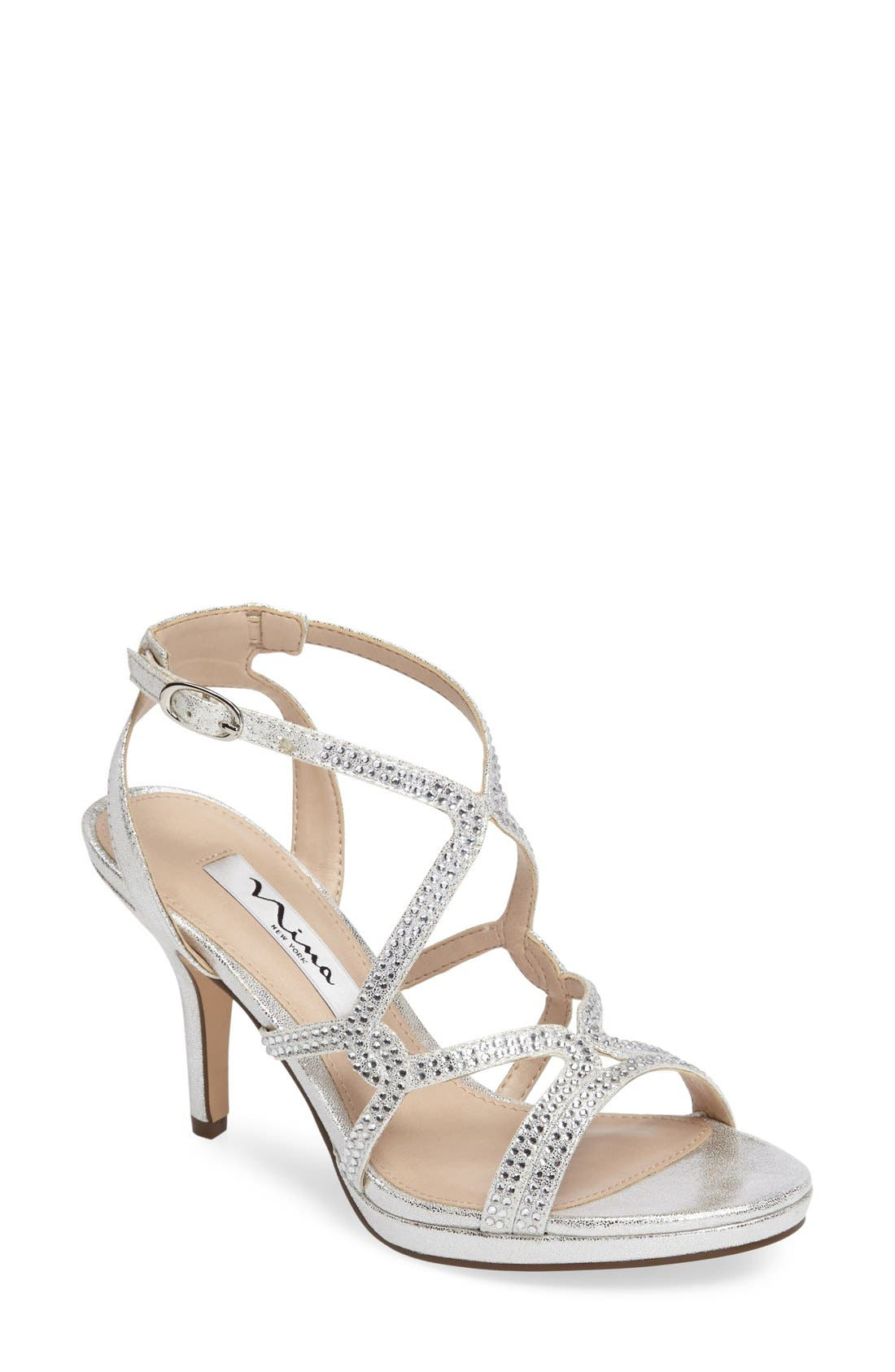 Varsha Crystal Embellished Evening Sandal,                             Main thumbnail 1, color,                             Silver Faux Suede