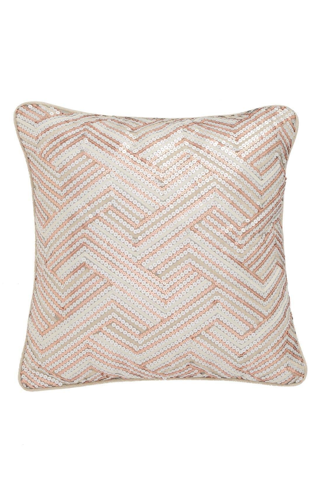 'Lona' Sequin Accent Pillow,                             Main thumbnail 1, color,                             Pink/ White/ Silver