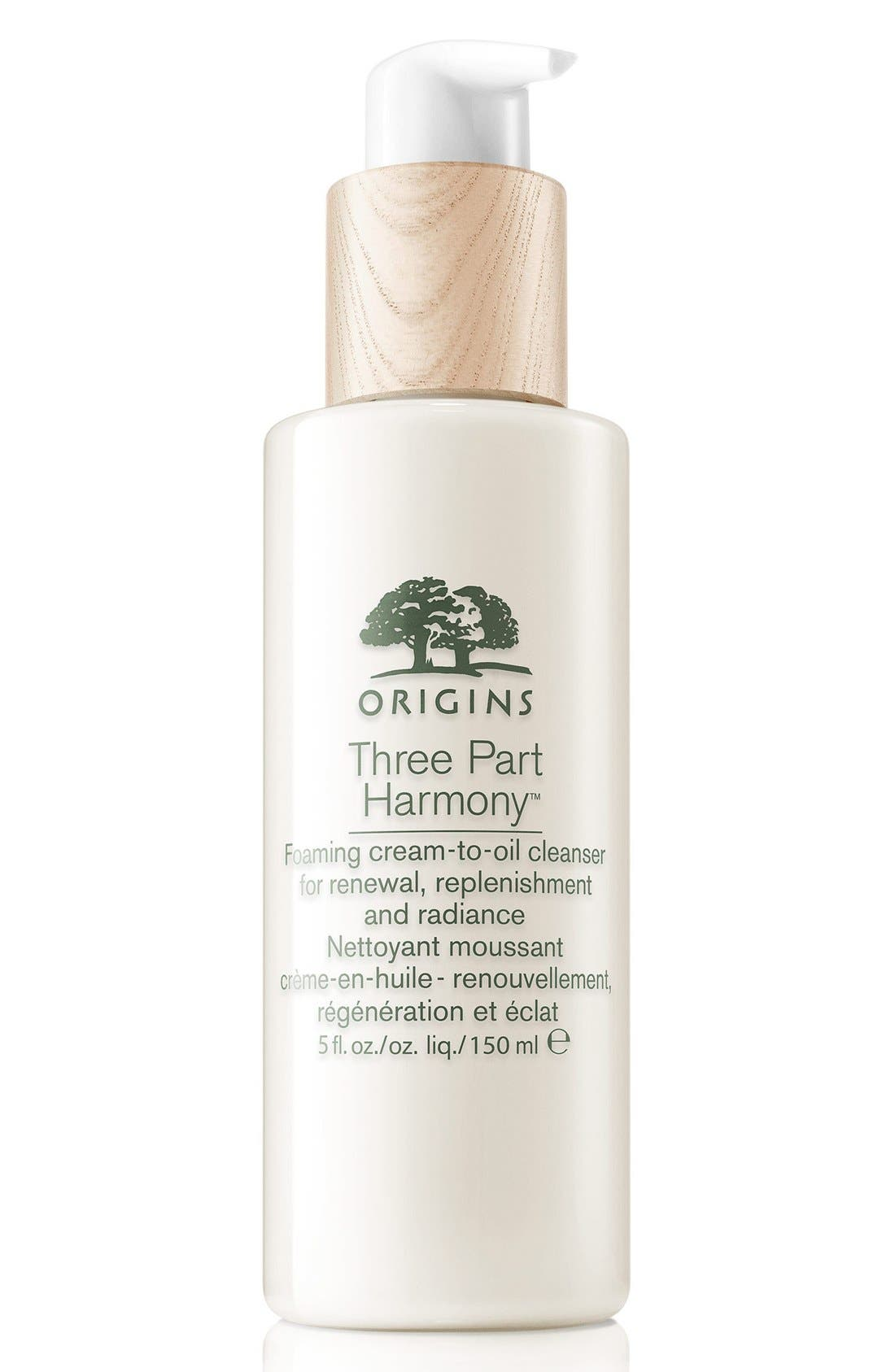 Origins Three Part Harmony Foaming Cream-to-Oil Cleanser for Renewal, Replenishment & Radiance