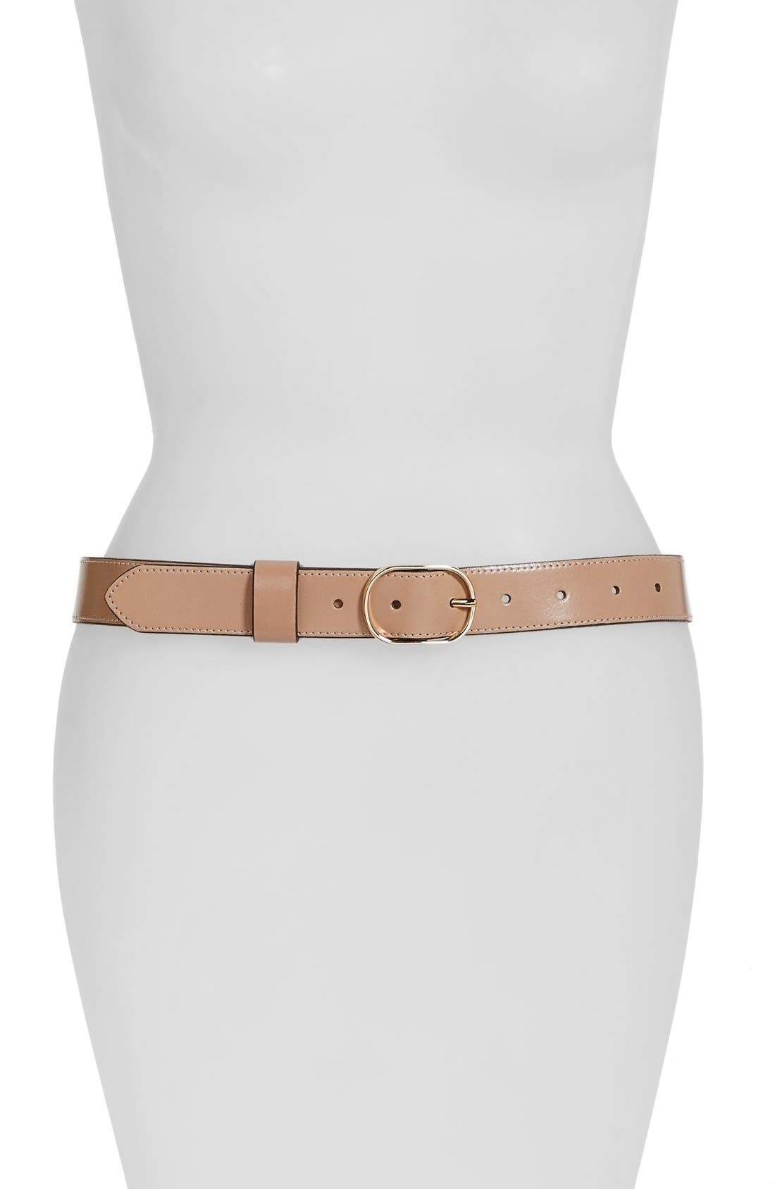 Tailored Trouser Leather Belt,                         Main,                         color, Clay Beige