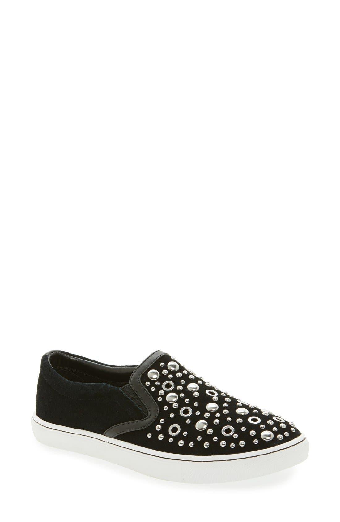 Paven Embellished Slip-On Sneaker,                             Main thumbnail 1, color,                             Black
