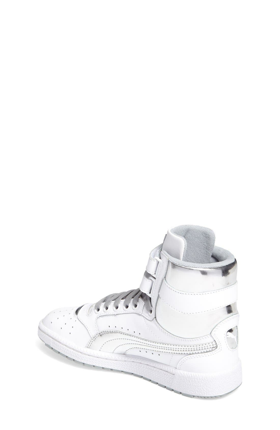 Sky II Hi Foil Jr Sneaker,                             Alternate thumbnail 2, color,                             Puma White-Puma Silver