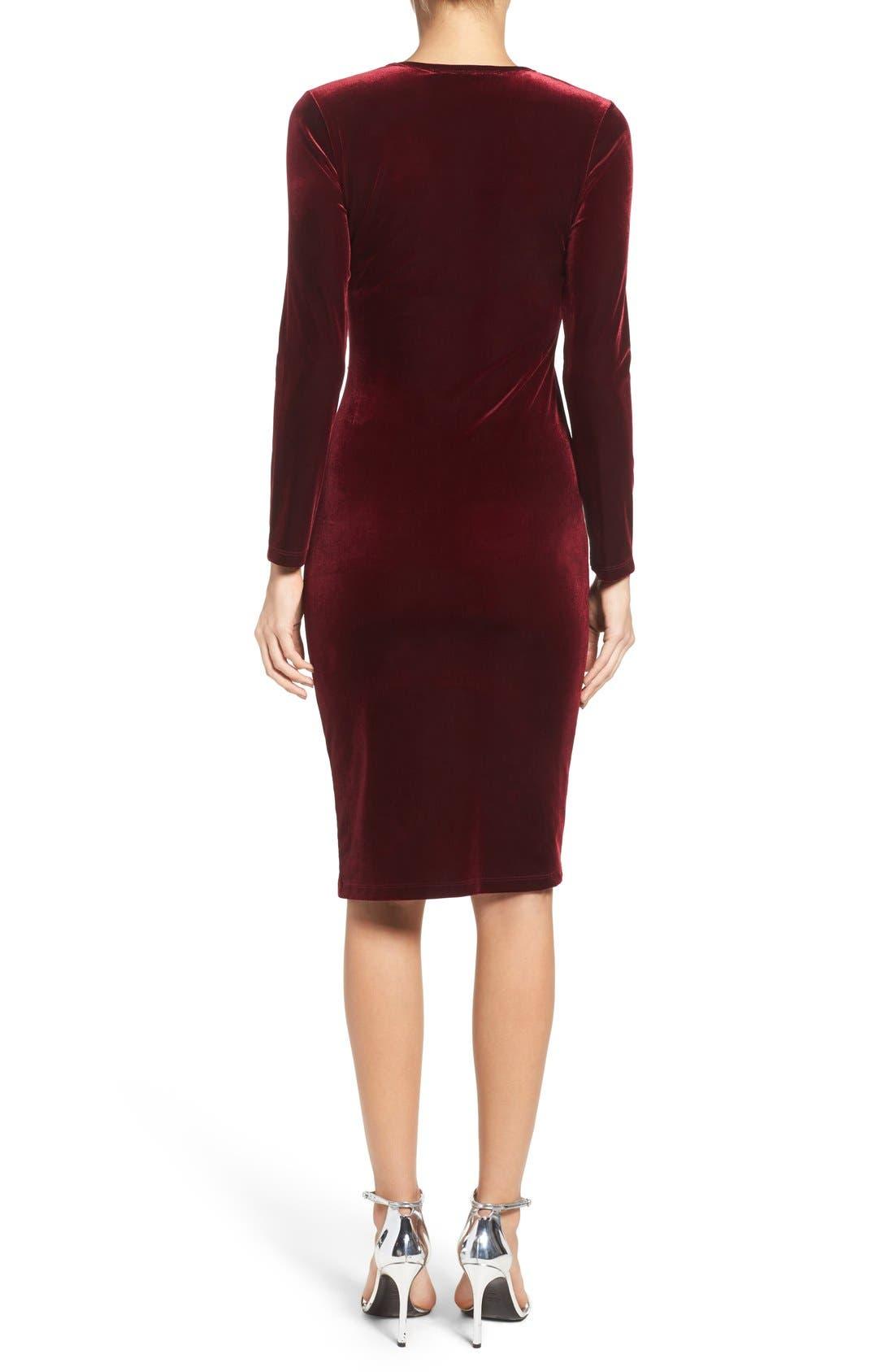 Velvet Body-Con Dress,                             Alternate thumbnail 2, color,                             Wine