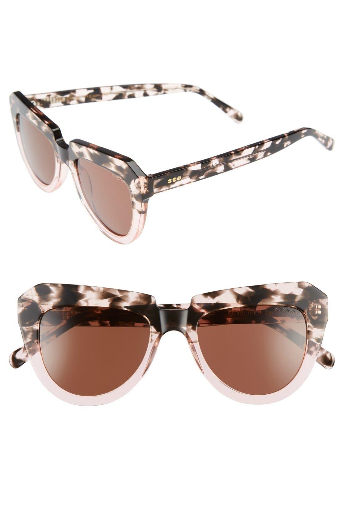 Stella 51mm Sunglasses,                         Main,                         color, Rose Dust