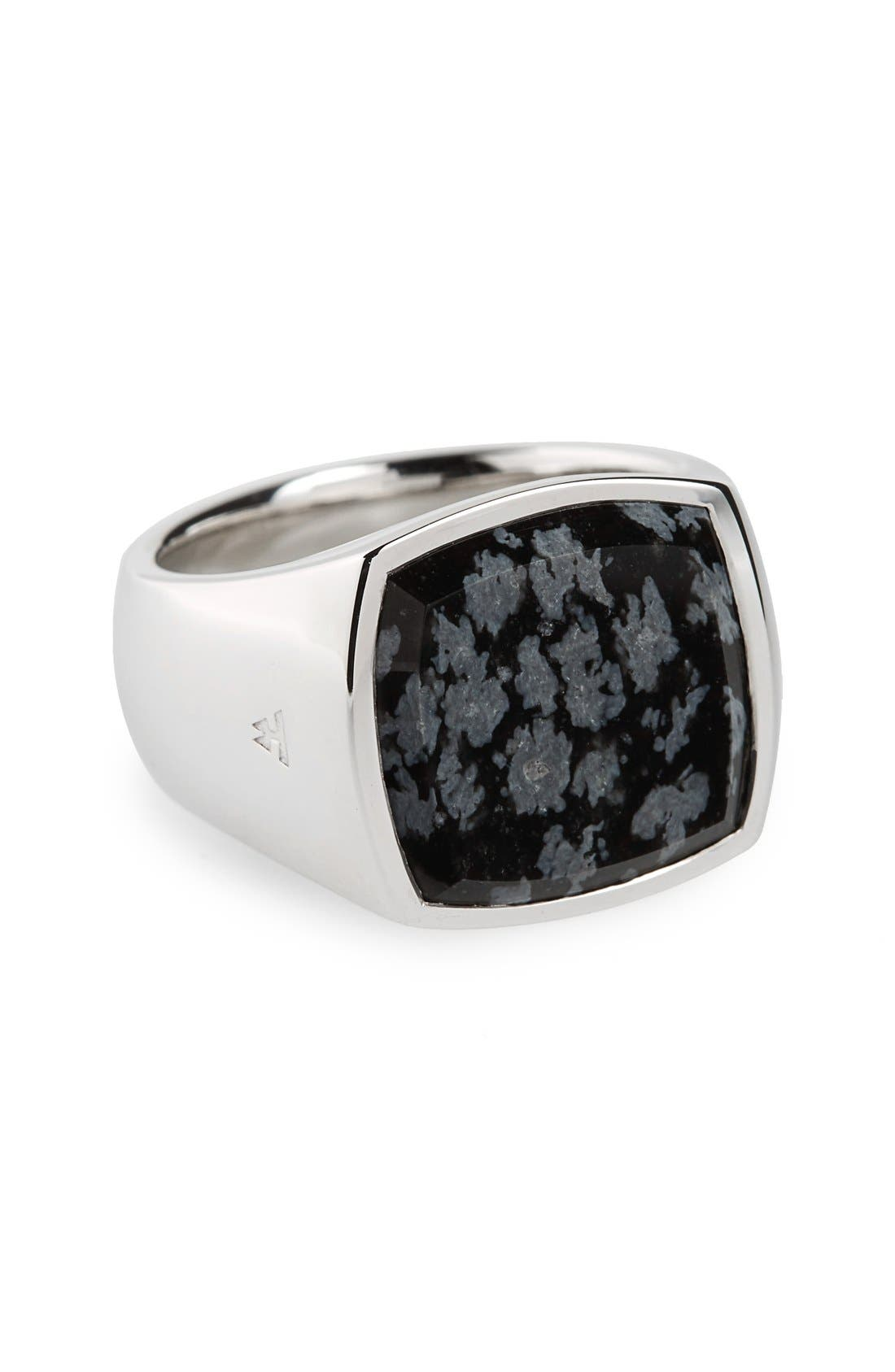 Snowflake Obsidian Cushion Signet Ring,                         Main,                         color, Silver