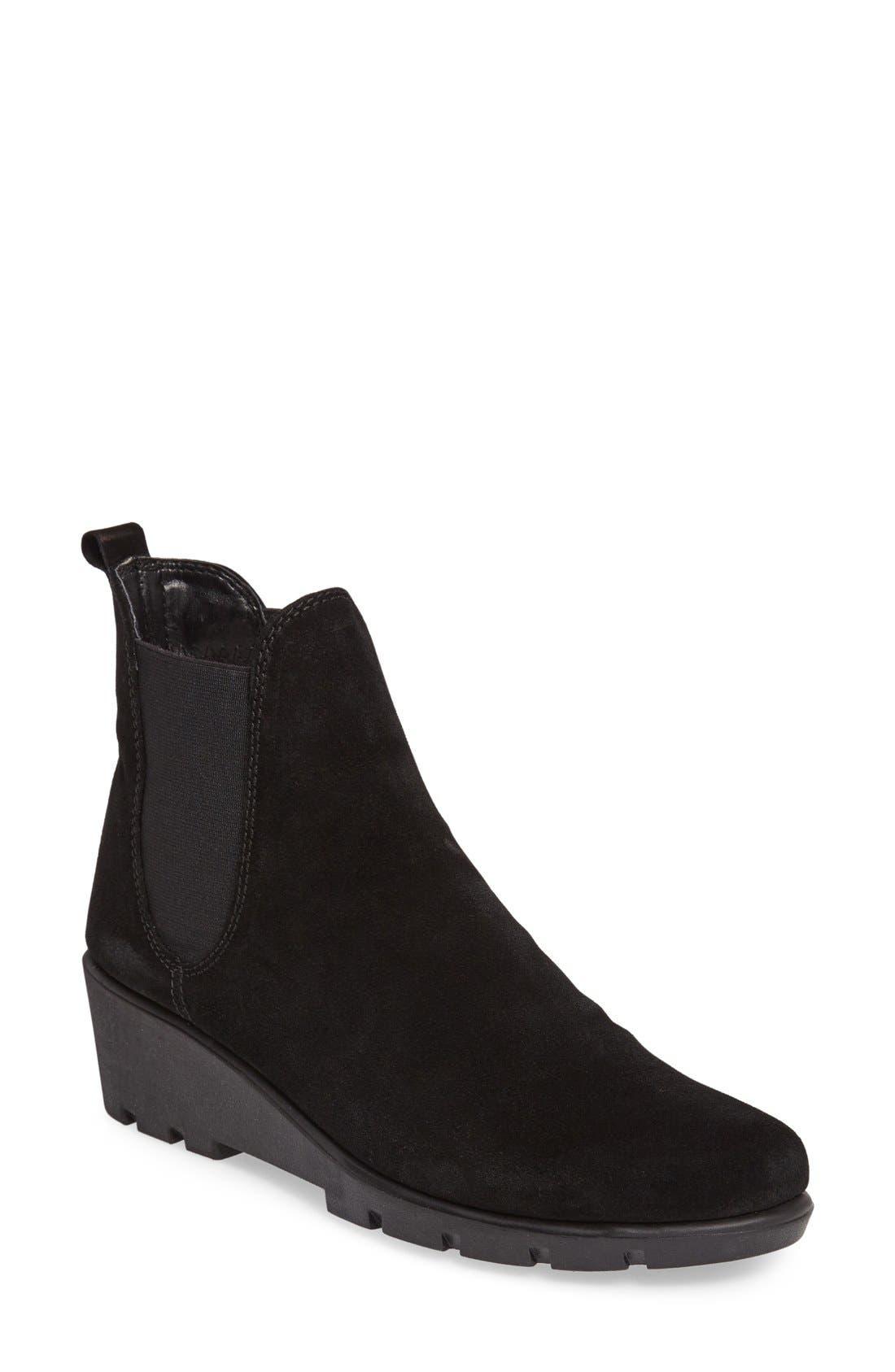 Slimmer Chelsea Wedge Boot,                             Main thumbnail 1, color,                             Black Waterproof Suede