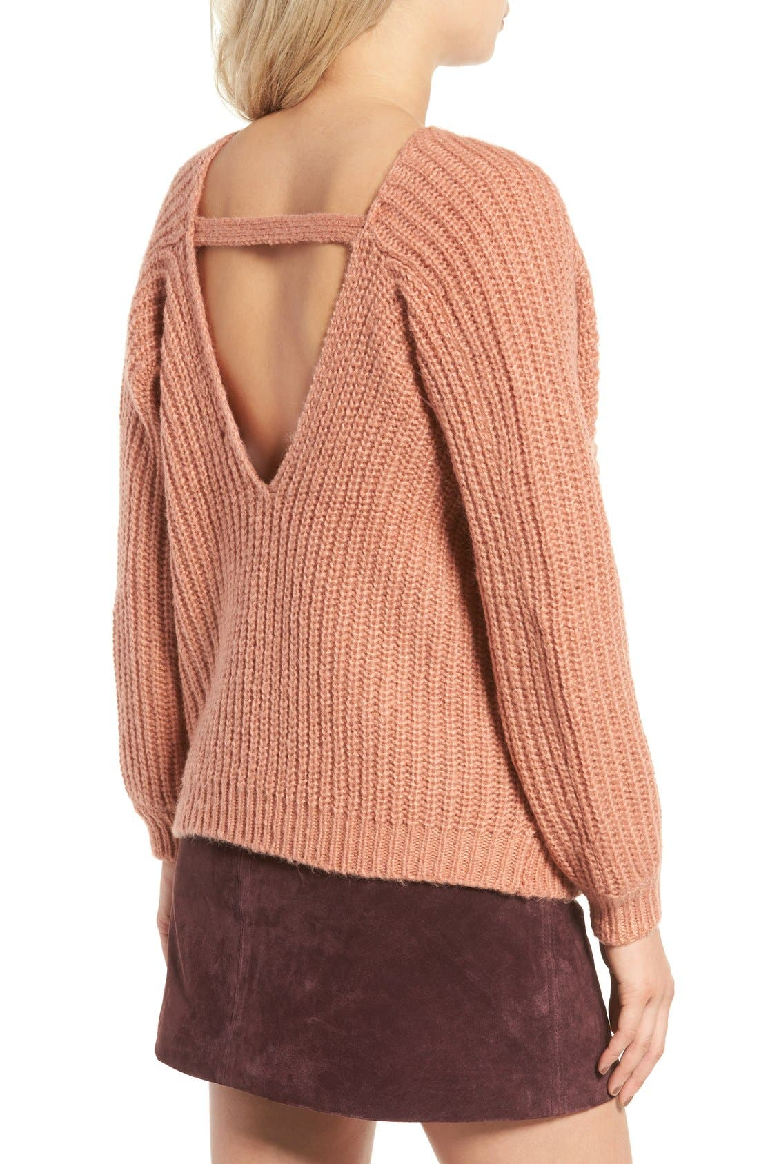 Alternate Image 2  - Glamorous Open Back Boyfriend Sweater
