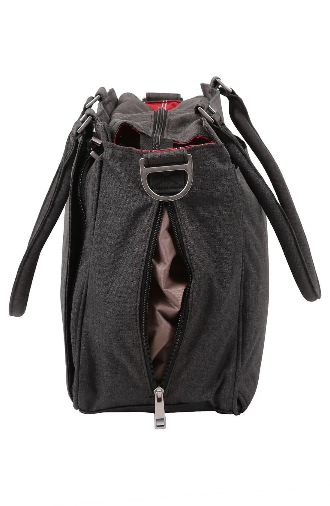 'Be Classy - Onyx Collection' Messenger Diaper Bag,                             Alternate thumbnail 3, color,                             Chrome