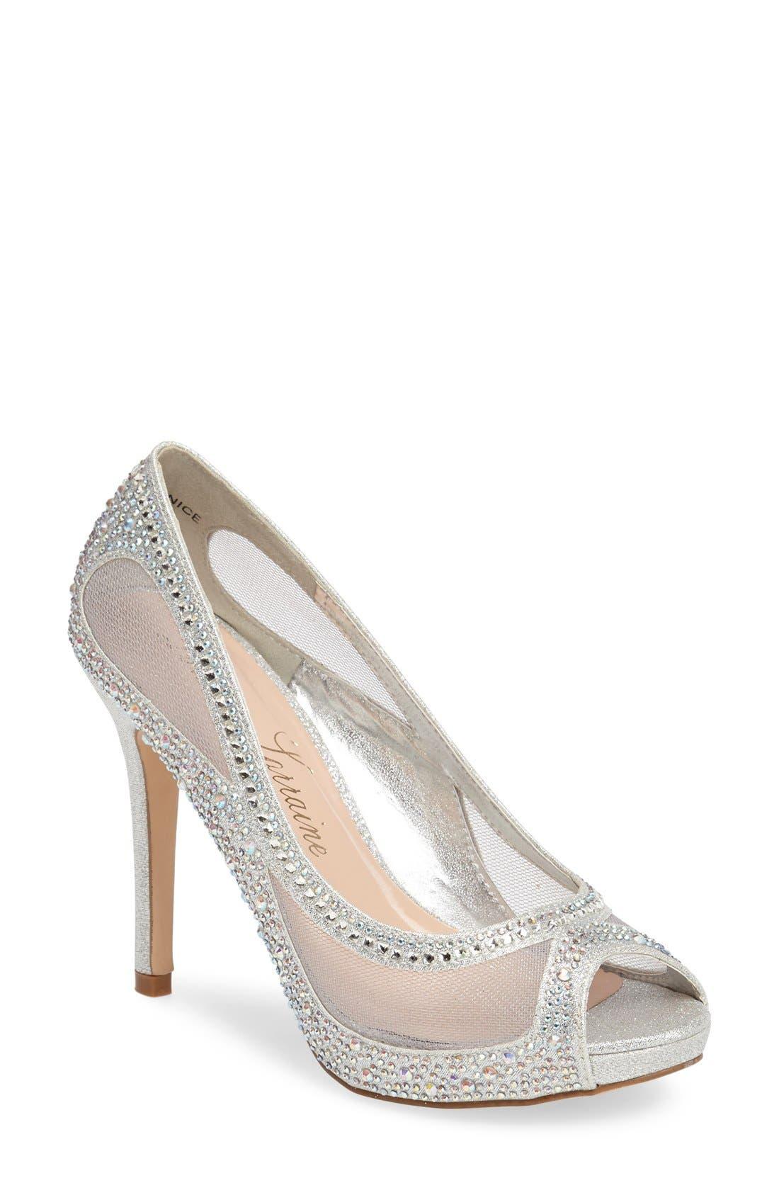 Lauren Lorraine Bernice Peep Toe Crystal Embellished Pump (Women)