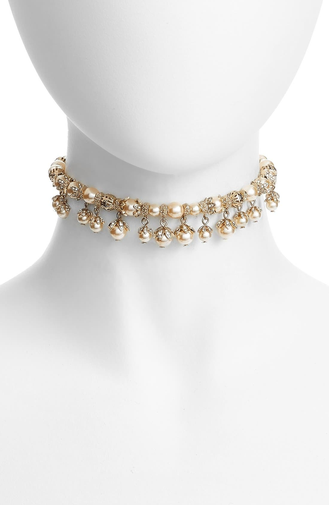 Imitation Pearl Choker Necklace,                         Main,                         color, Blush/ Gold