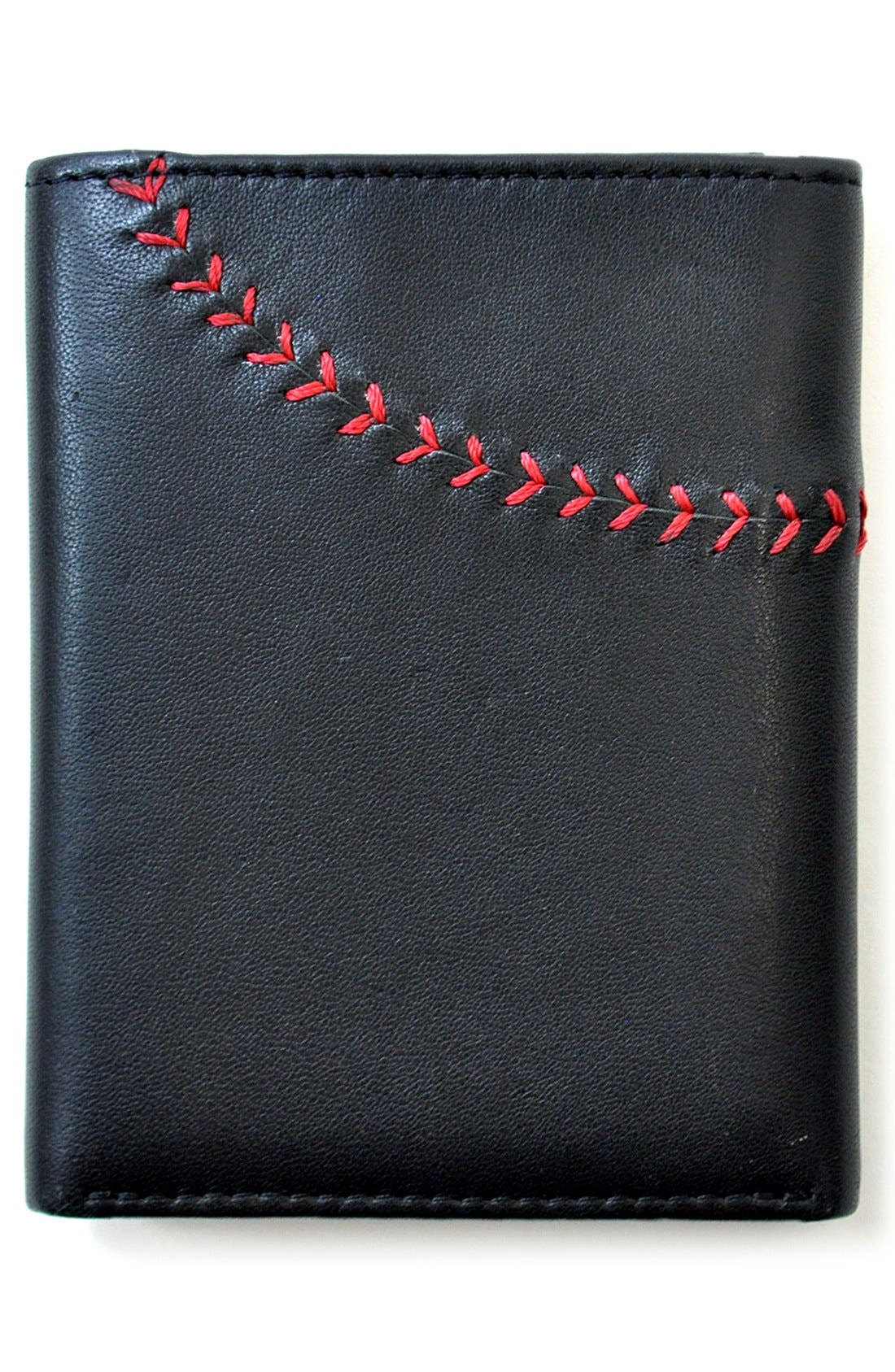 Baseball Stitch Leather Trifold Wallet,                             Alternate thumbnail 3, color,                             Black