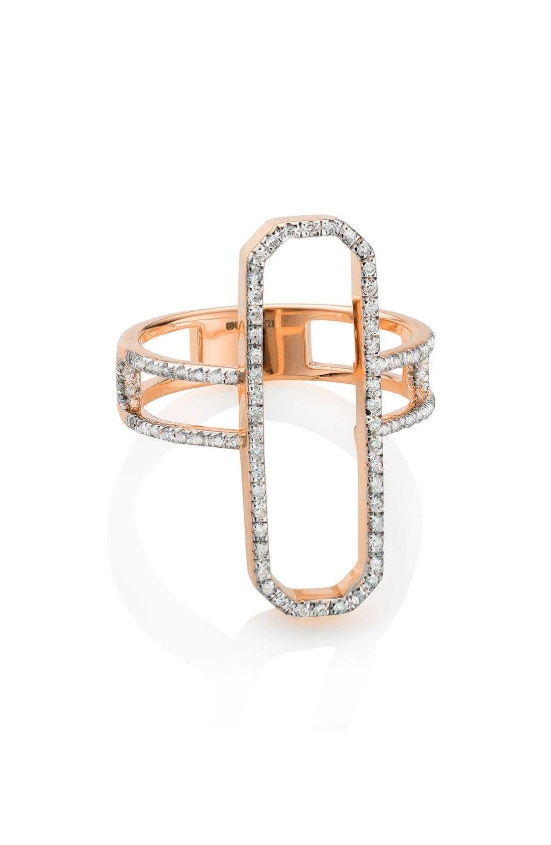 Naida Diamond Cocktail Ring,                             Alternate thumbnail 3, color,                             Rose Gold/ Diamond