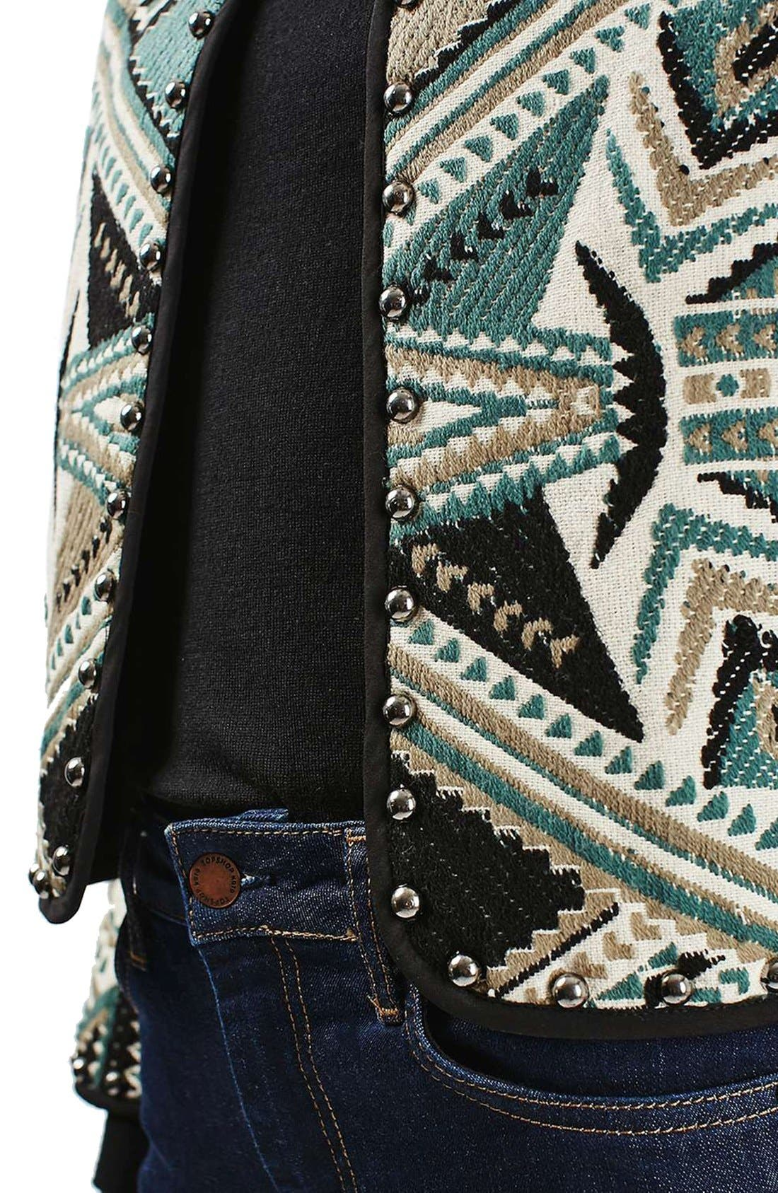 Studded Embroidered Jacket,                             Alternate thumbnail 5, color,                             Grey Multi