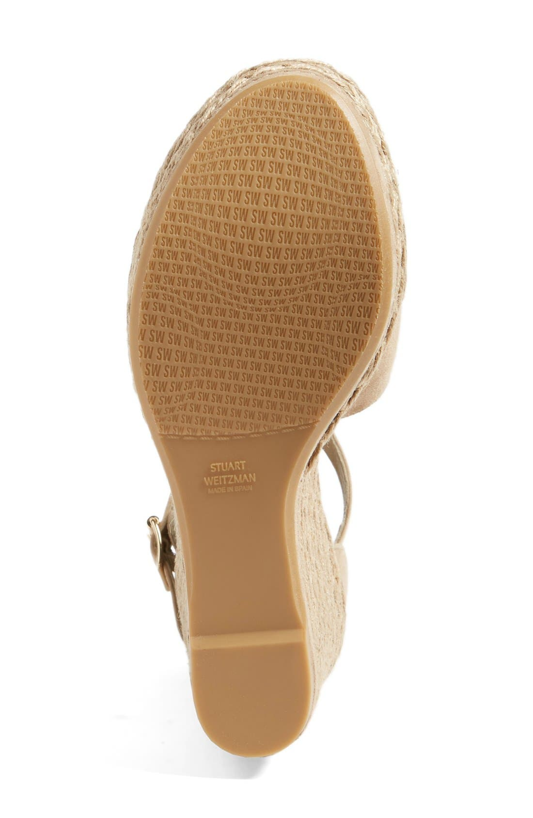 Sohojute Platform Wedge Sandal,                             Alternate thumbnail 4, color,                             Mojave Suede