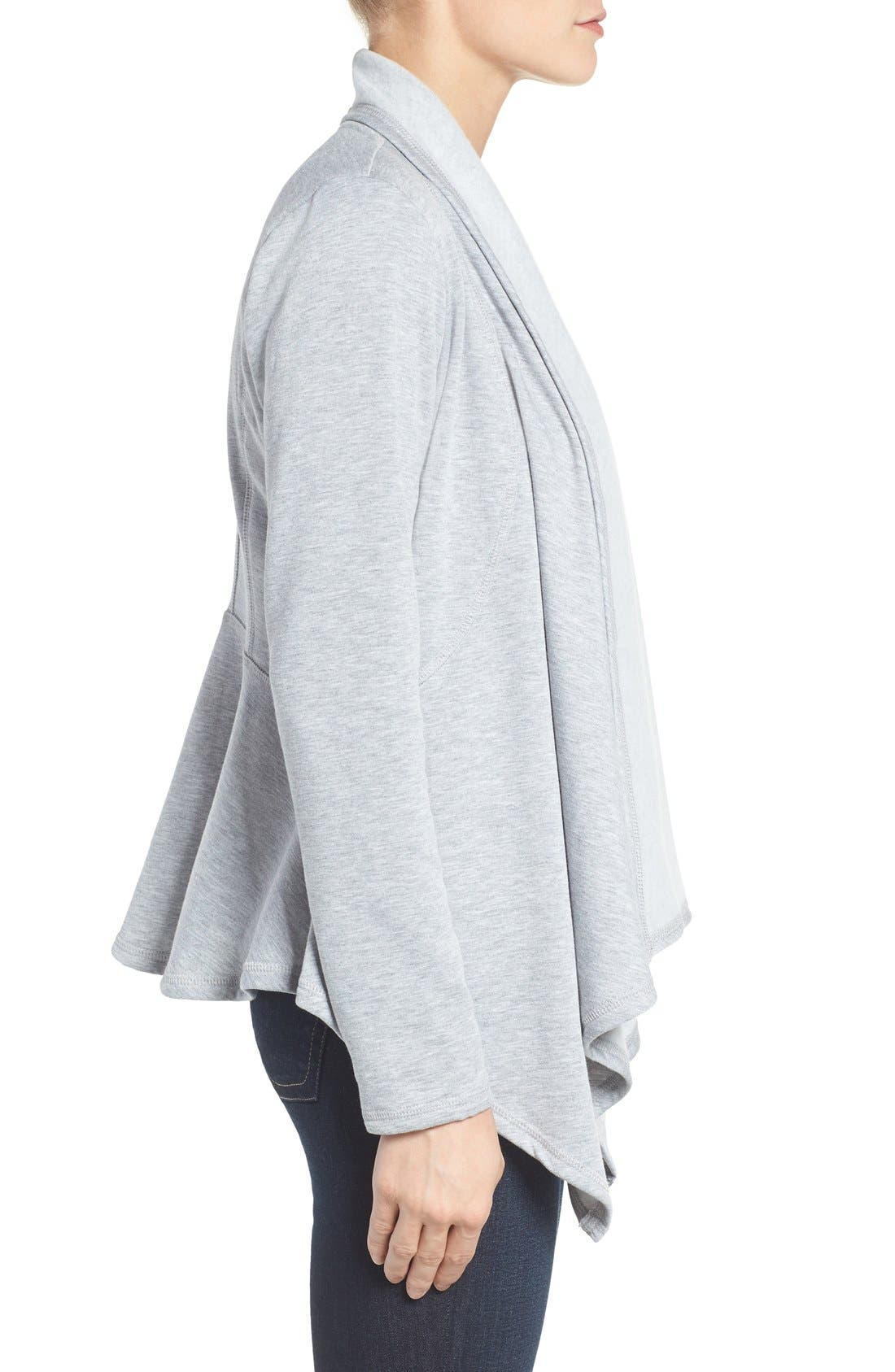 Alternate Image 3  - Bobeau Peplum Back Open Front Cardigan (Regular & Petite)