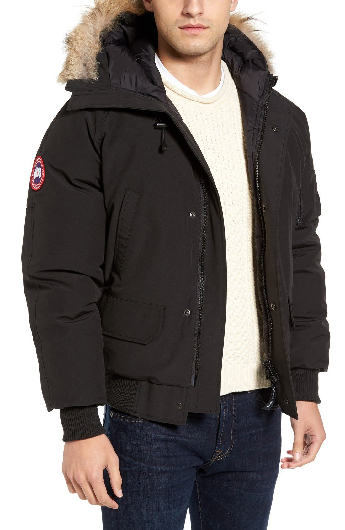 'Chilliwack' Down Bomber Jacket with Genuine Coyote Trim,                             Main thumbnail 1, color,                             Black
