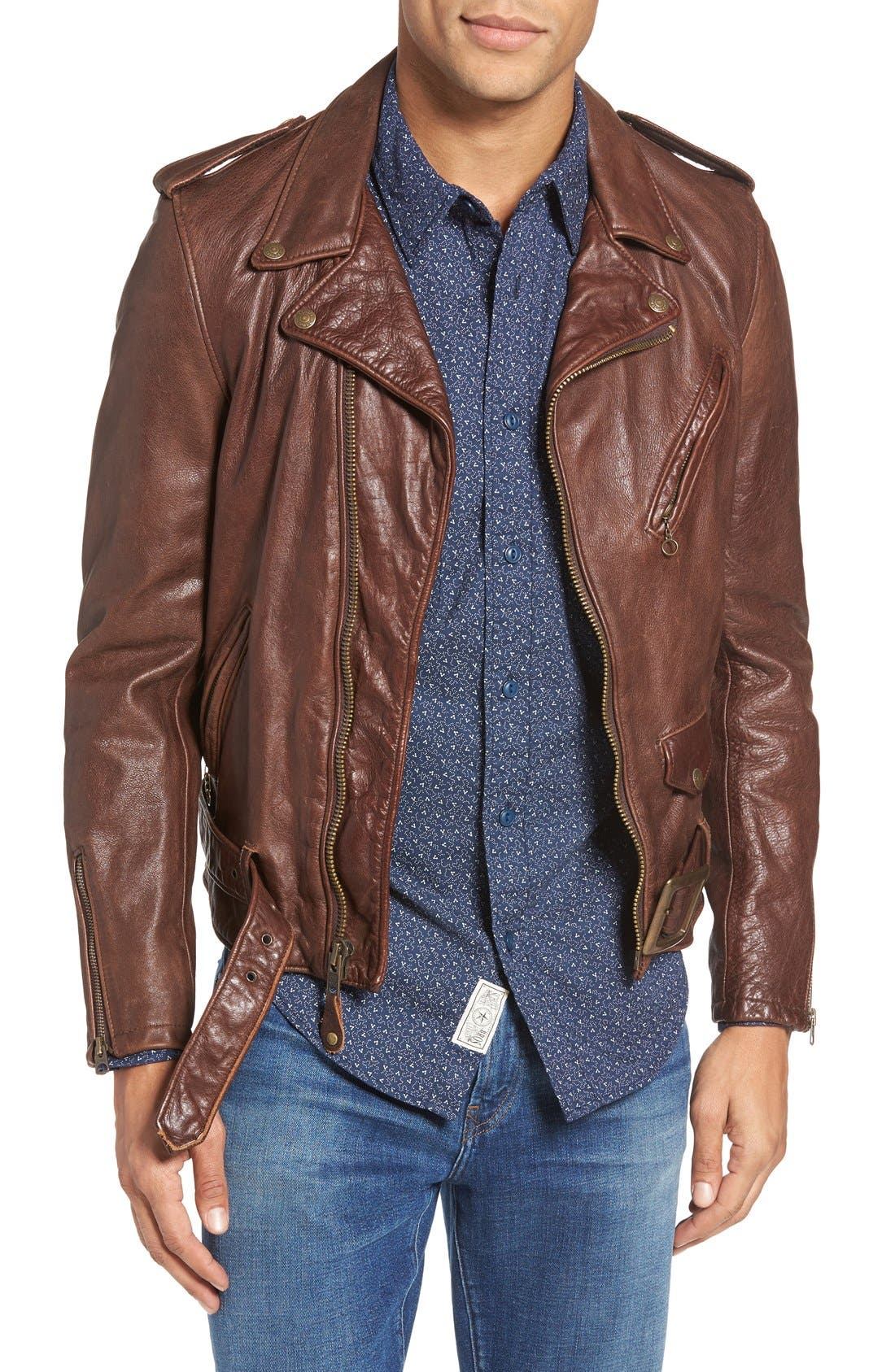Schott NYC Hand Vintaged Slim Fit Leather Motocycle Jacket
