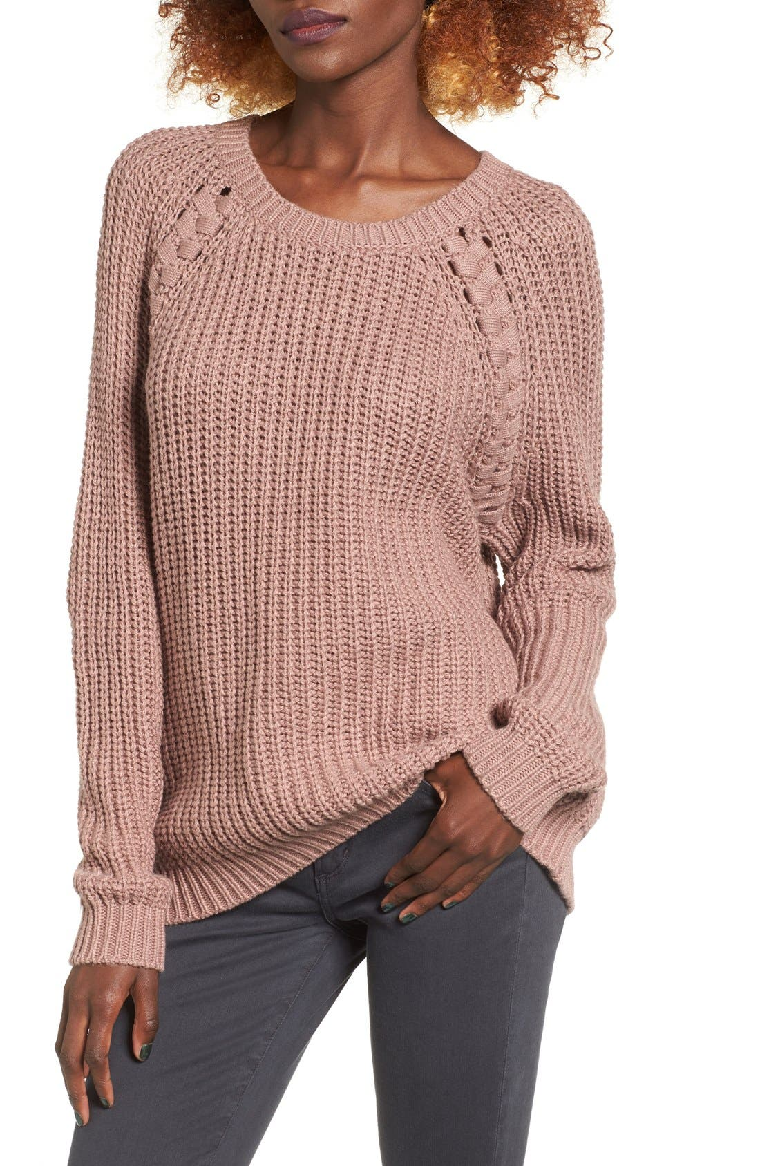 Braided Detail Pullover,                             Main thumbnail 1, color,                             Tan Antler