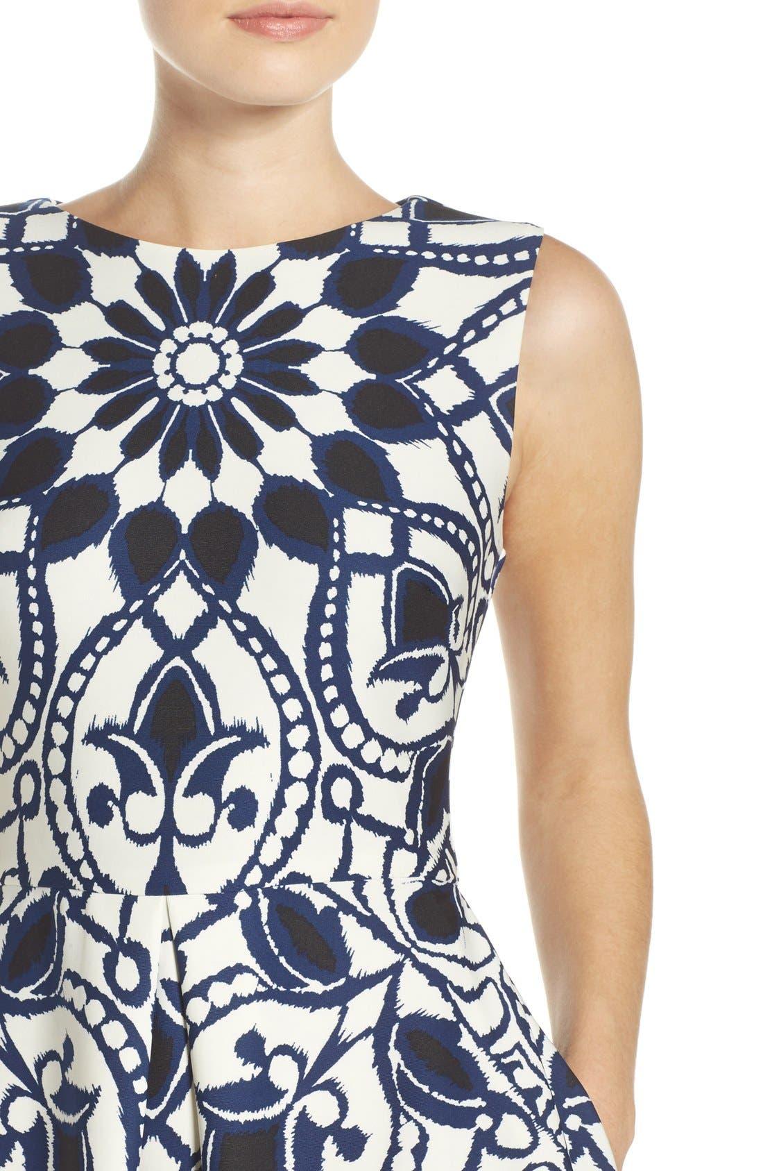 Alternate Image 5  - Taylor Dresses Mirror Print Fit & Flare Dress