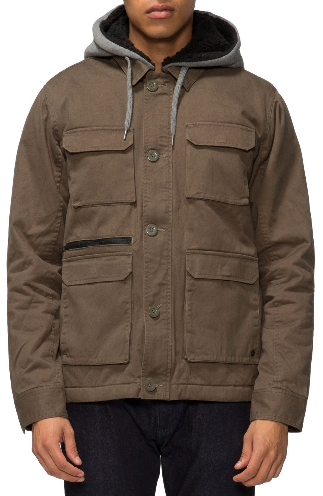 Droogs Plus Field Jacket with Detachable Hood,                         Main,                         color, Olive/ Heather Grey