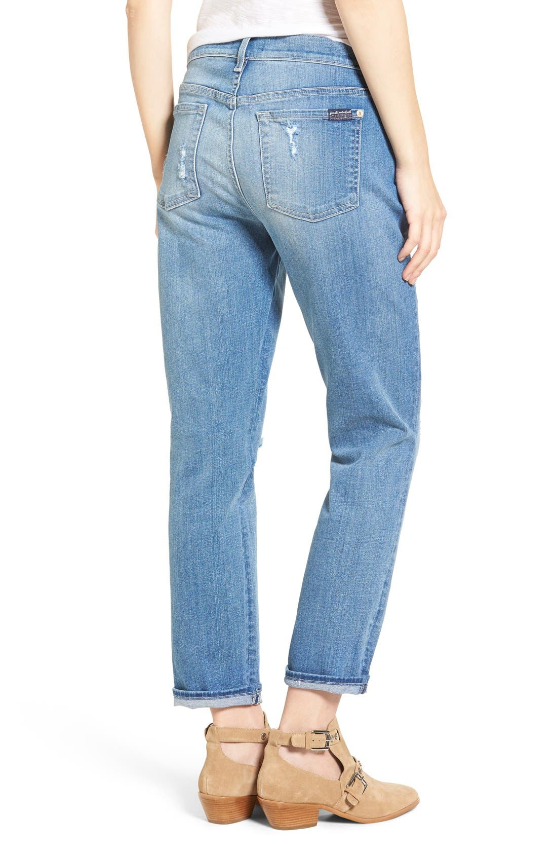 Alternate Image 3  - 7 For All Mankind® Josefina Embroidered Boyfriend Jeans (Denim Embroidery Botanical)