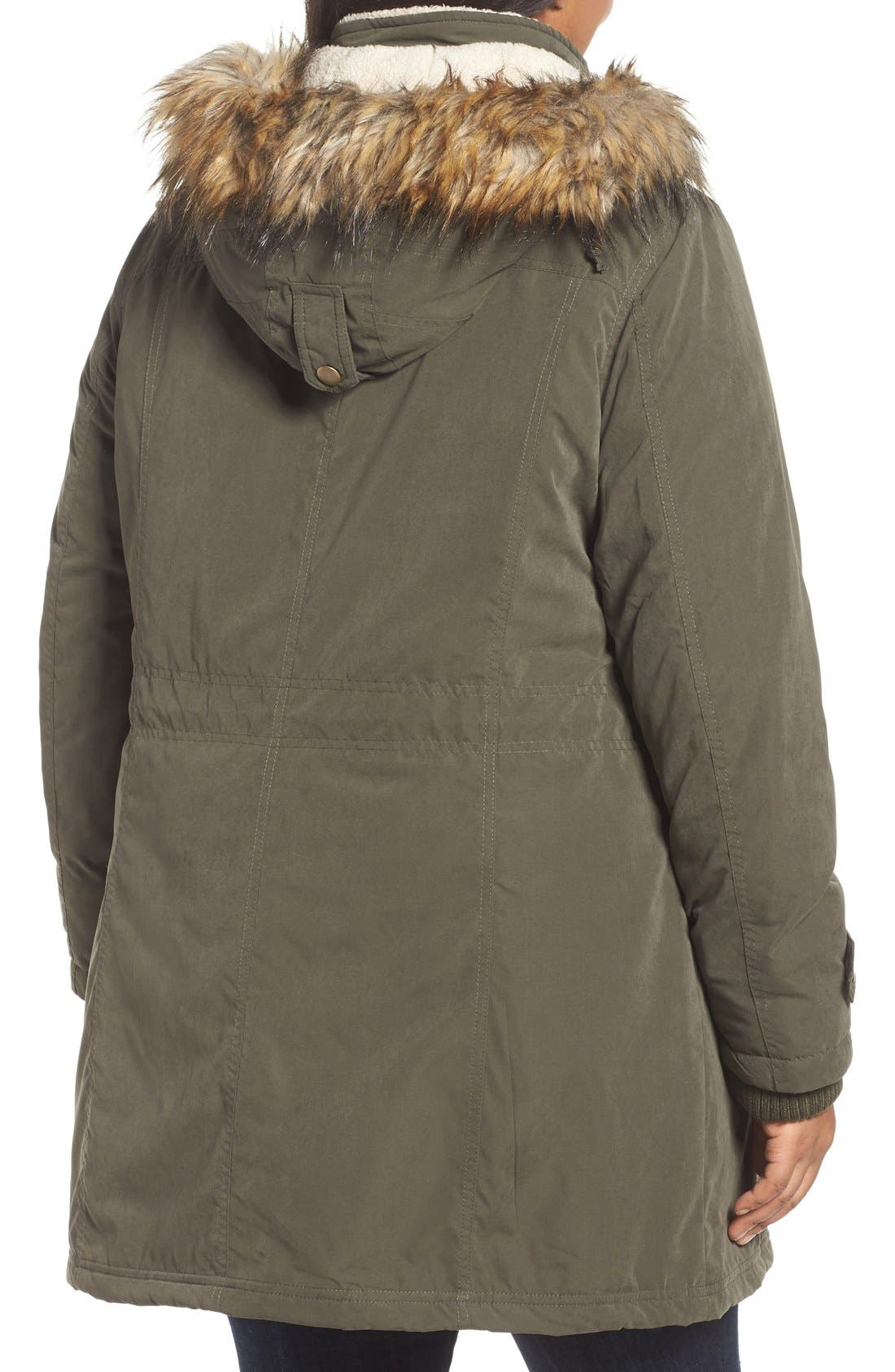 Hooded Parka with Faux Fur Trim,                             Alternate thumbnail 2, color,                             Olive