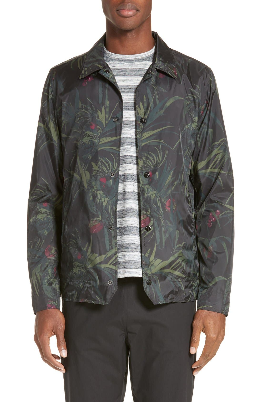 Dark Tropical Woven Work Jacket,                         Main,                         color, Black Multi