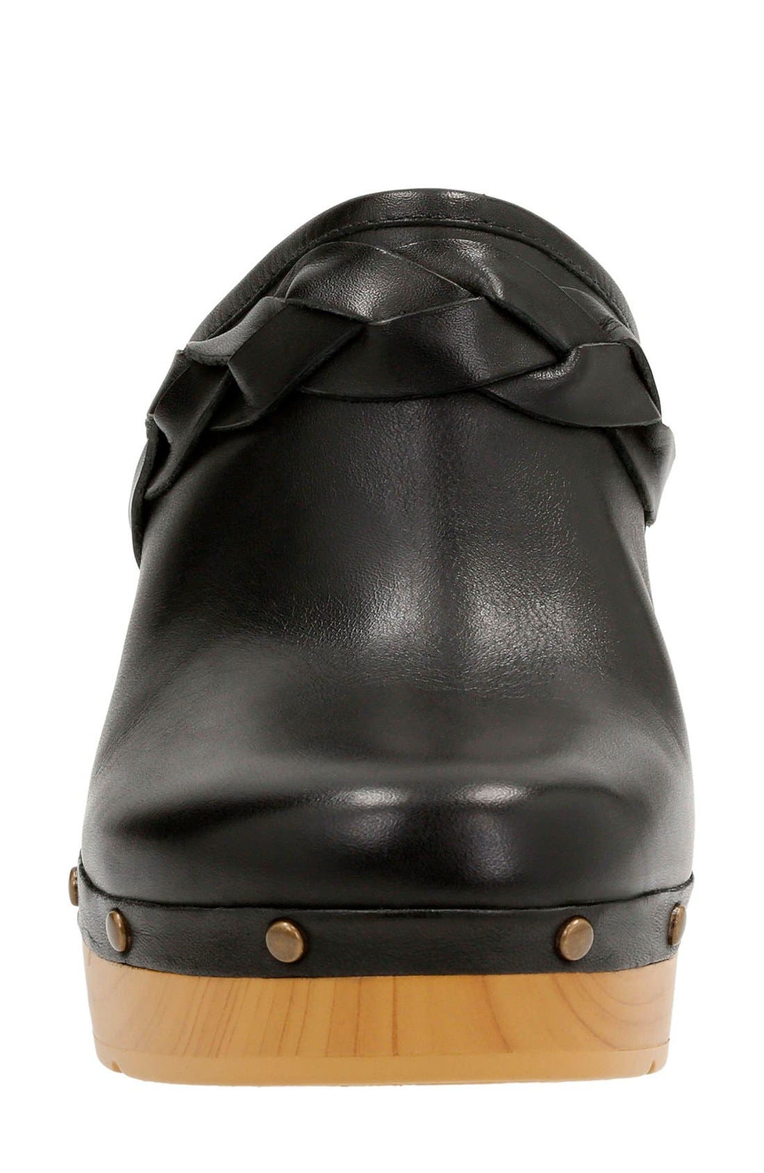Ledella Meg Platform Clog,                             Alternate thumbnail 3, color,                             Black Leather