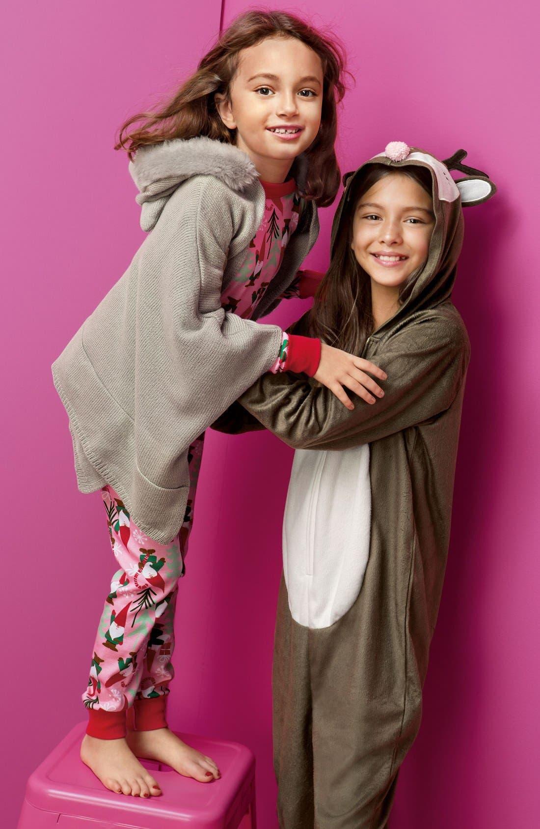 Alternate Image 3  - PJ Salvage Deer Fitted One-Piece Pajamas (Little Girls & Big Girls)