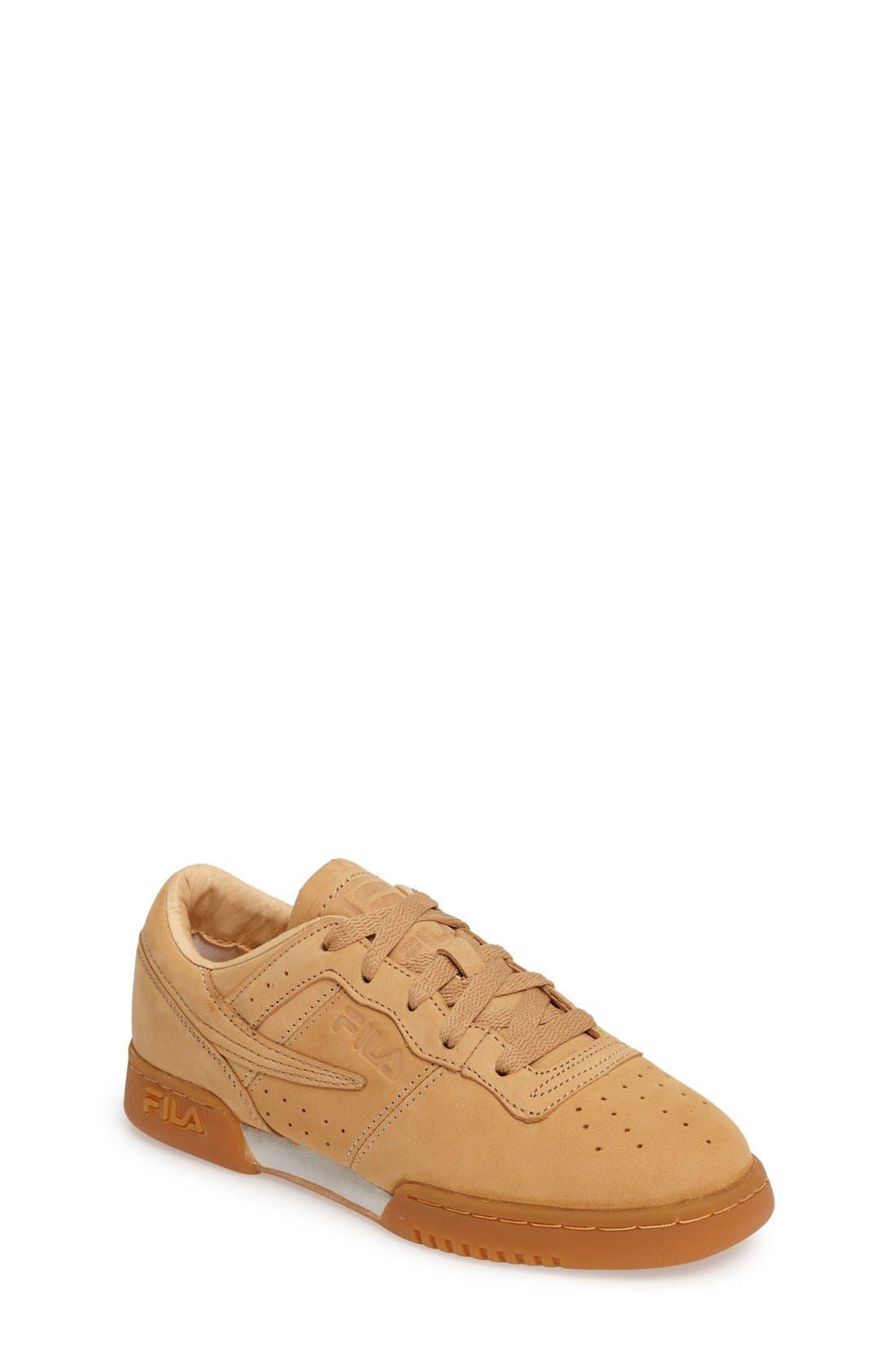 USA Heritage Sneaker,                             Main thumbnail 1, color,                             Tan Nubuck Leather