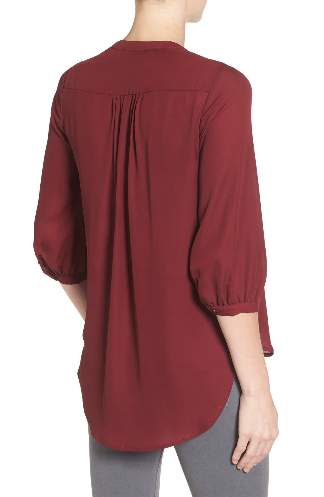 'Audrey' Maternity/Nursing Tuxedo Blouse,                             Alternate thumbnail 2, color,                             Burgundy