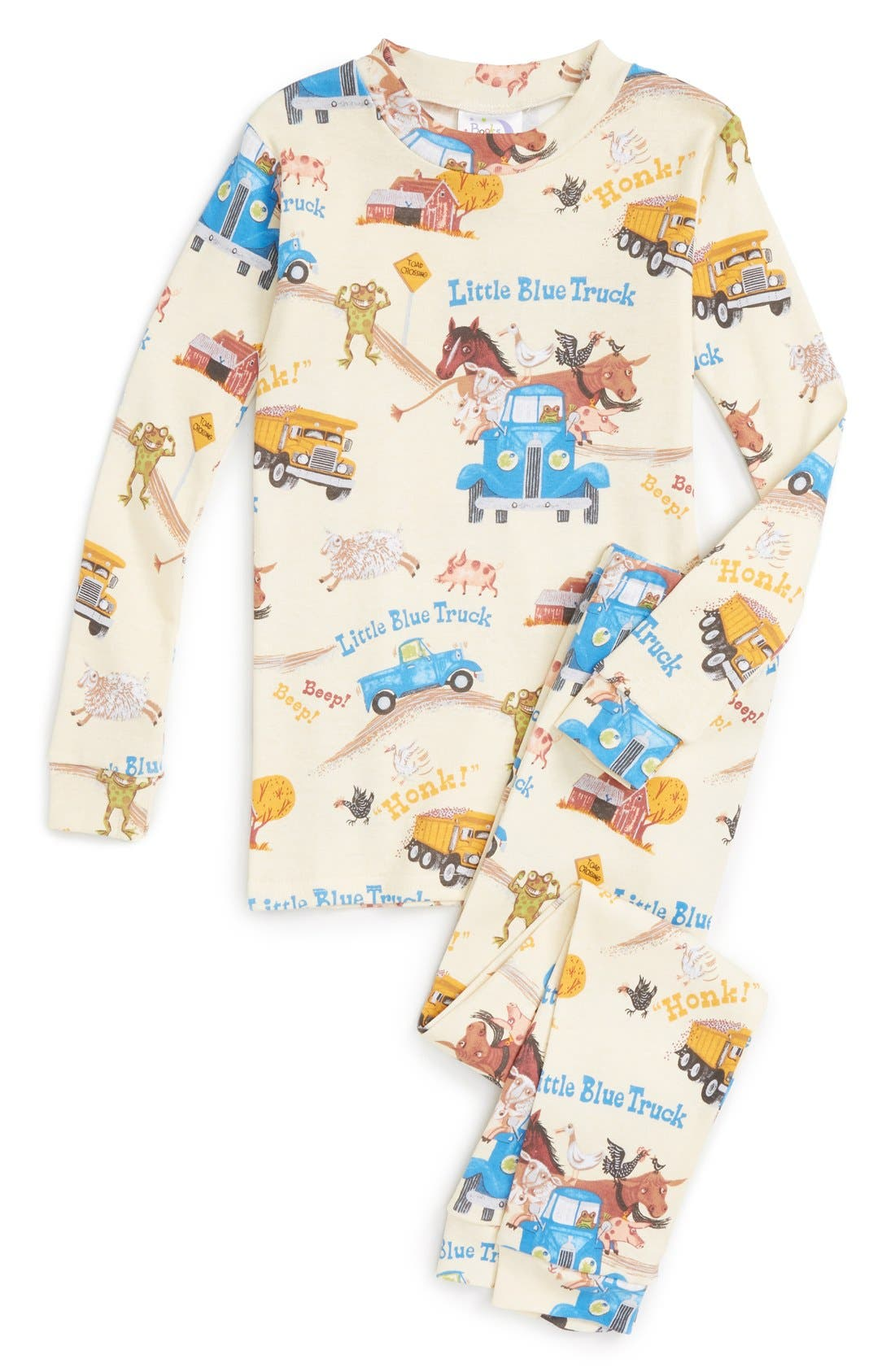 Little Blue Truck Fitted Two-Piece Pajamas,                             Main thumbnail 1, color,                             Yellow