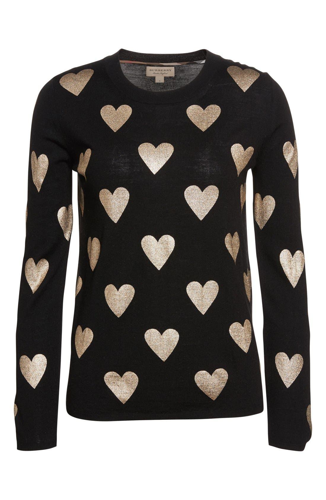 Alternate Image 4  - Burberry Bilboa Foil Heart Wool Sweater