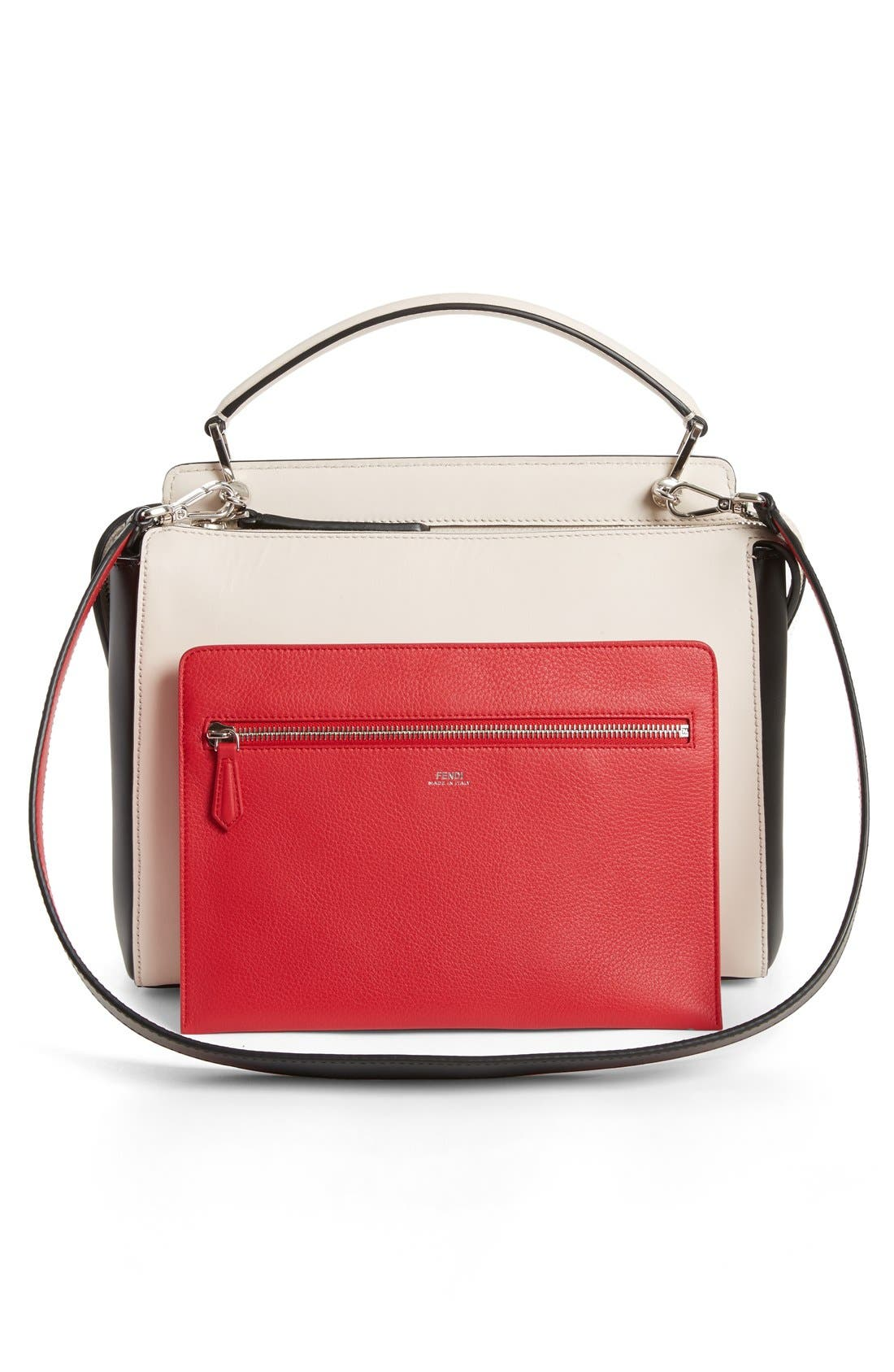 DOTCOM Tricolor Whipstich Calfskin Satchel,                             Alternate thumbnail 3, color,                             White/ Brown/ Yellow