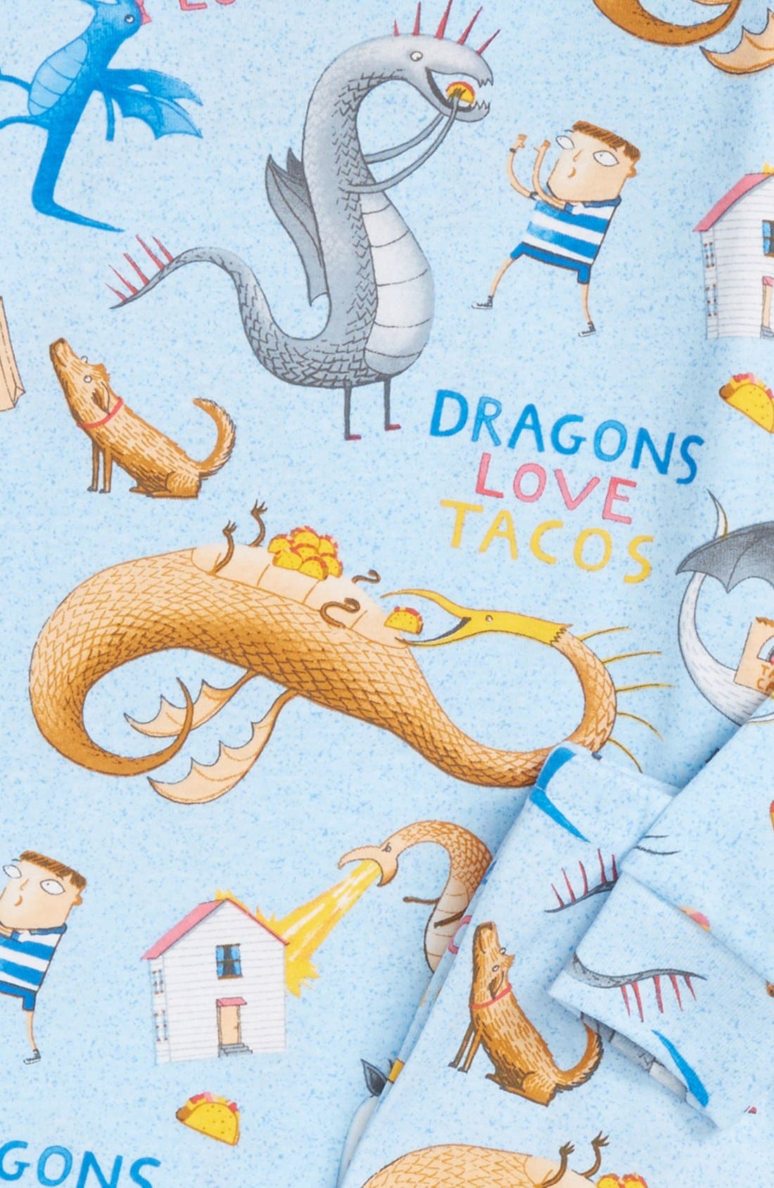 Dragons Love Tacos Fitted Two-Piece Pajamas & Book Set,                             Alternate thumbnail 2, color,                             Blue