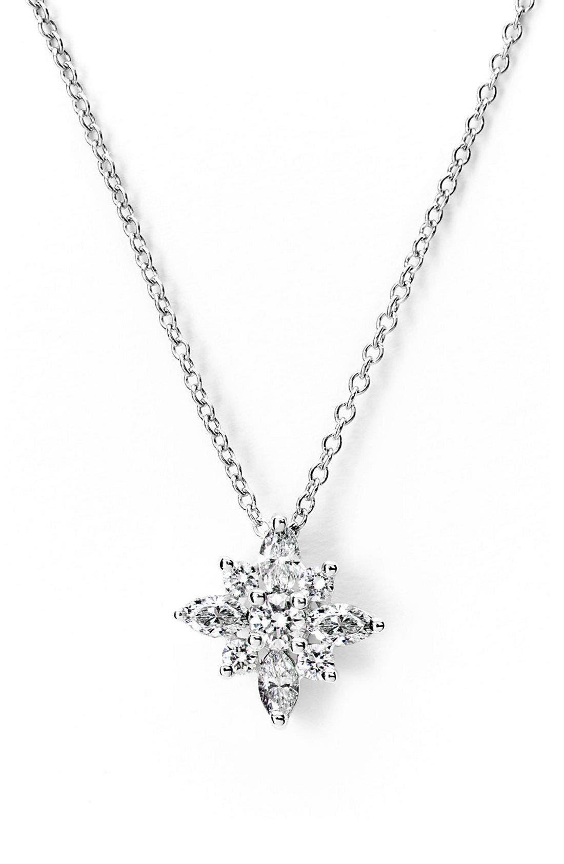 .44ct tw Diamond Star Pendant Necklace,                             Main thumbnail 1, color,                             Platinum