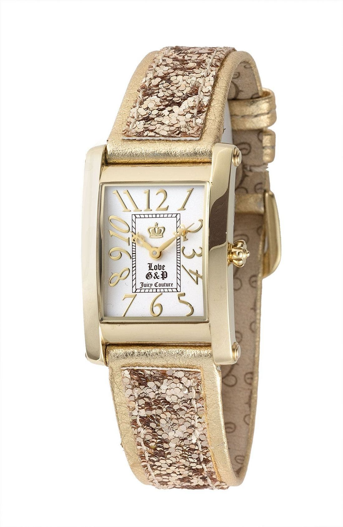 'Zoe' Glitter Watch,                             Main thumbnail 1, color,                             Gold Glitter