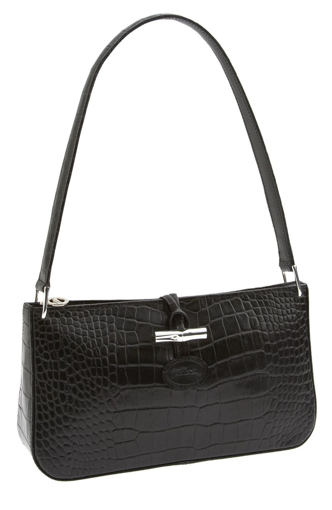 Alternate Image 1 Selected - Longchamp 'Roseau Croco - Small' Shoulder Bag