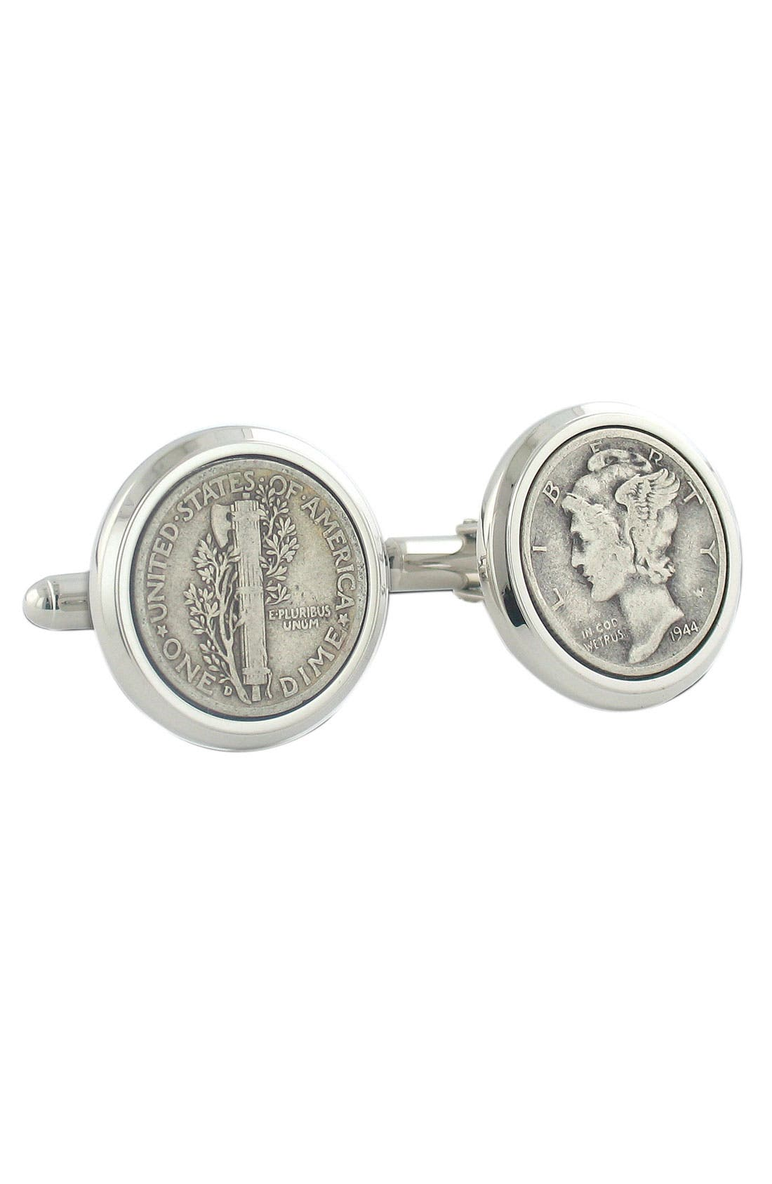 Mercury Dime Cuff Links,                             Alternate thumbnail 2, color,                             Silver Dime