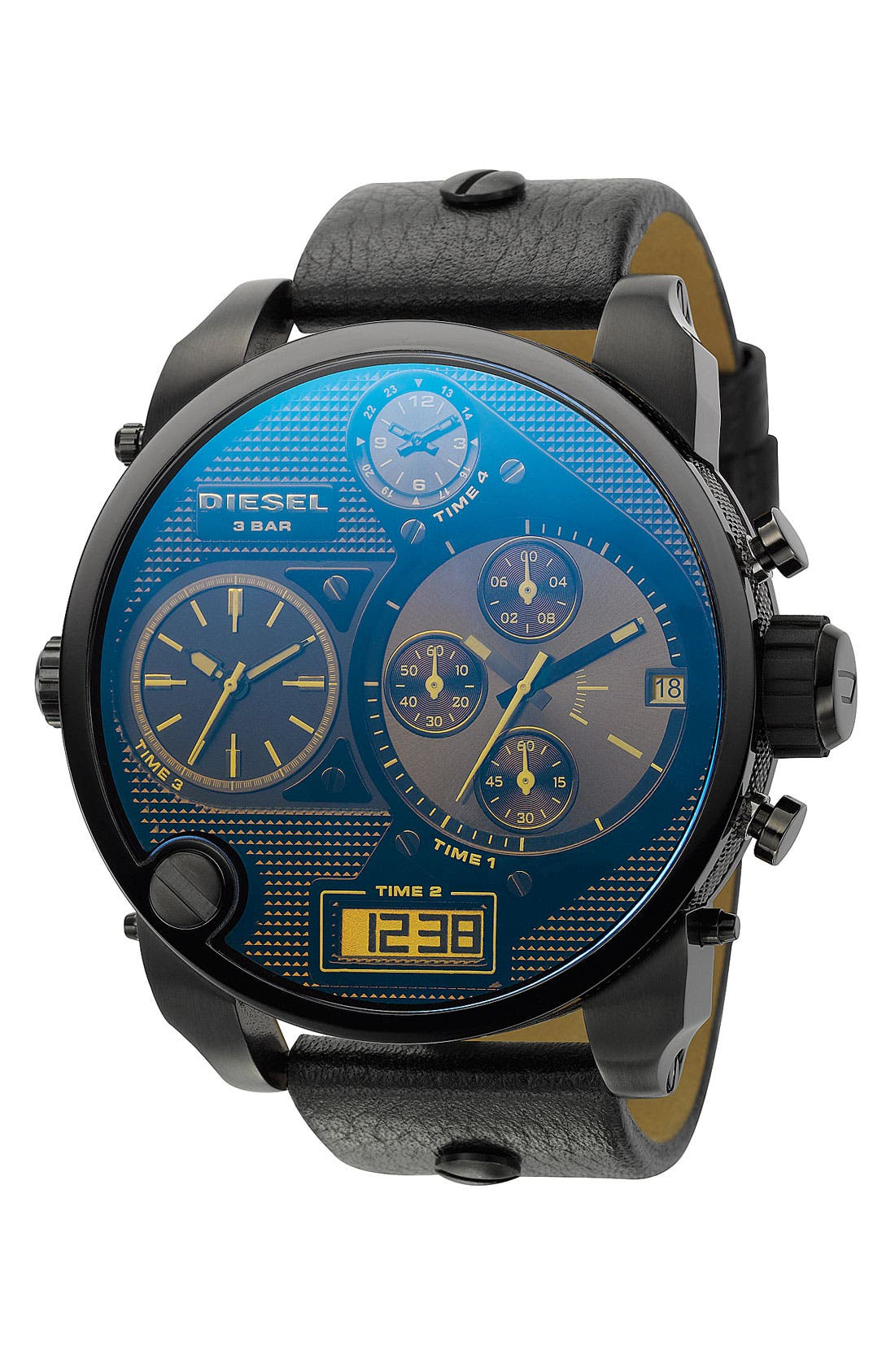 Main Image - DIESEL® 'Mr. Daddy' Leather Strap Watch, 58mm