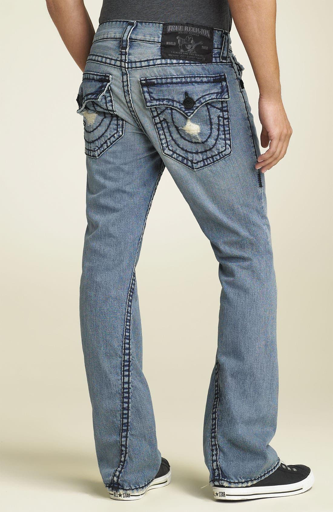 Main Image - True Religion Brand Jeans 'Joey - Black Super T' Bootcut Jeans (Cowboy Destroyed Wash)