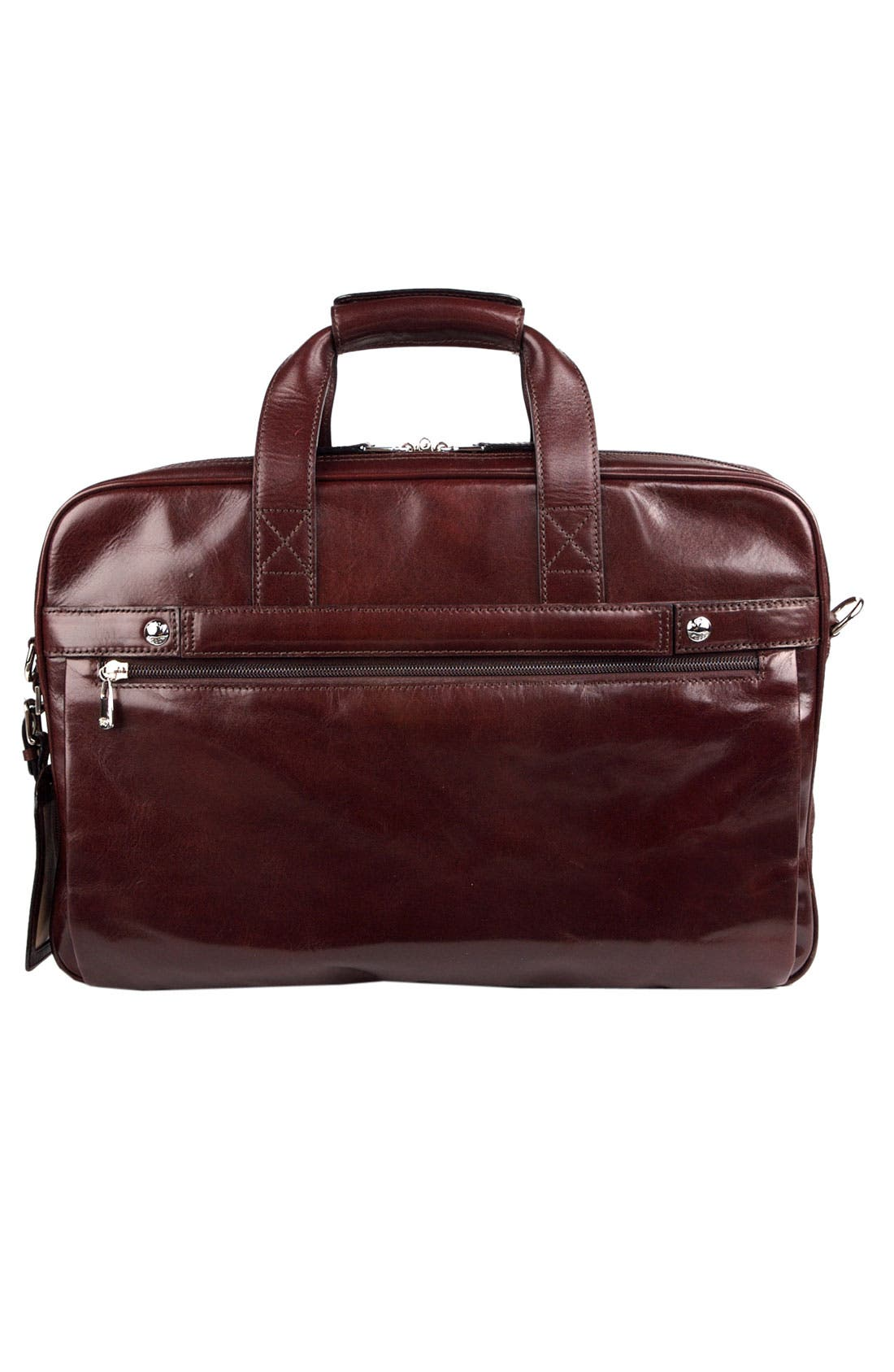 Double Compartment Leather Briefcase,                             Alternate thumbnail 2, color,                             Dark Brown