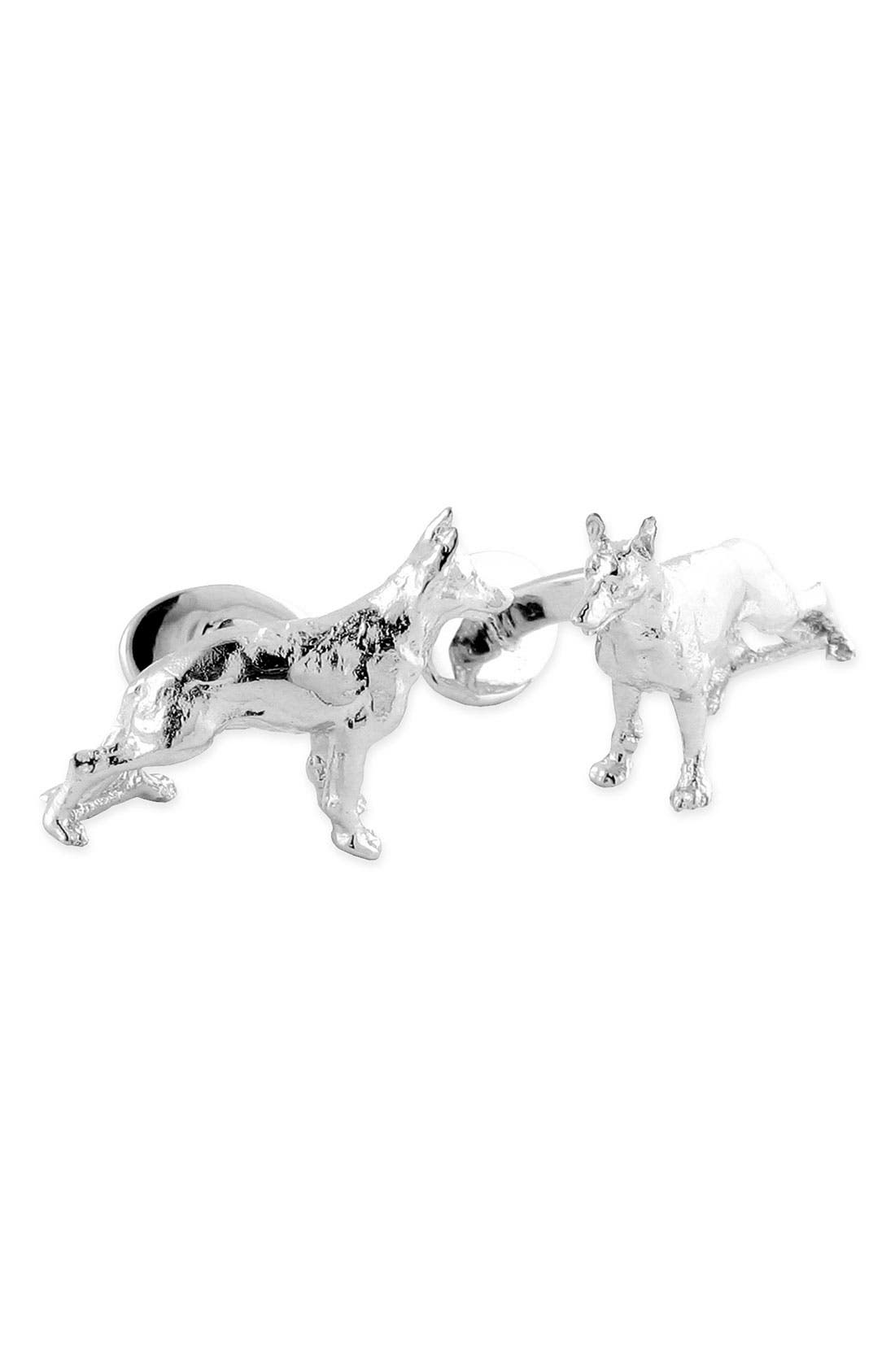 'German Shepherd' Sterling Silver Cuff Links,                         Main,                         color, Silver