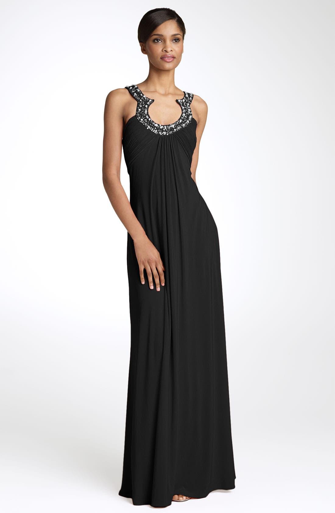 Main Image - JS Boutique Bead Neck Jersey Gown