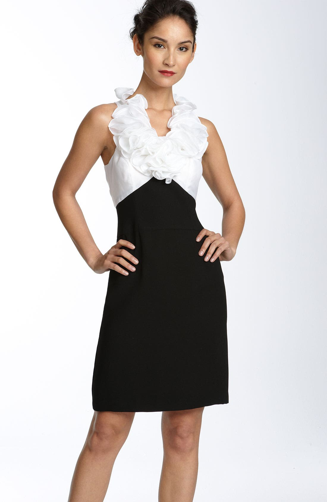 Alternate Image 1 Selected - JS Collections Ruffle Collar Crepe Sheath Dress