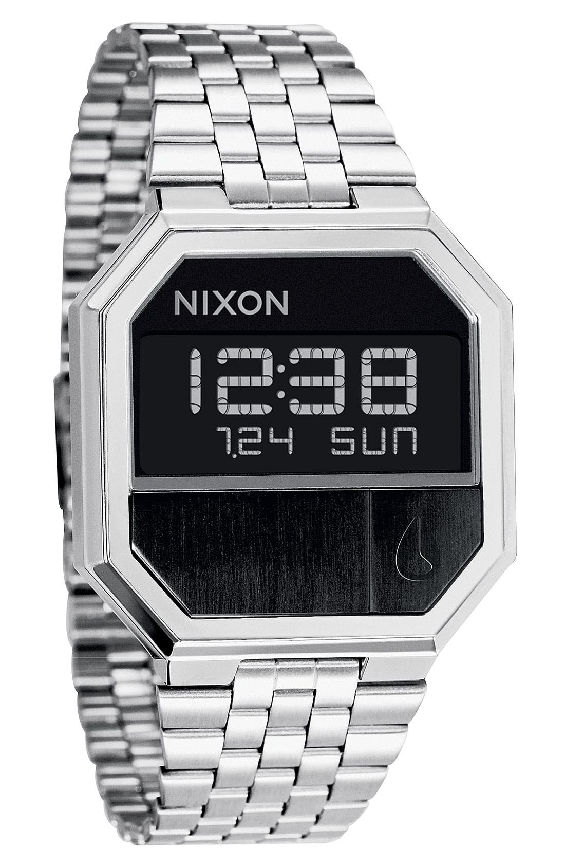 'The Re-Run' Stainless Steel Bracelet Watch,                             Main thumbnail 1, color,                             Black