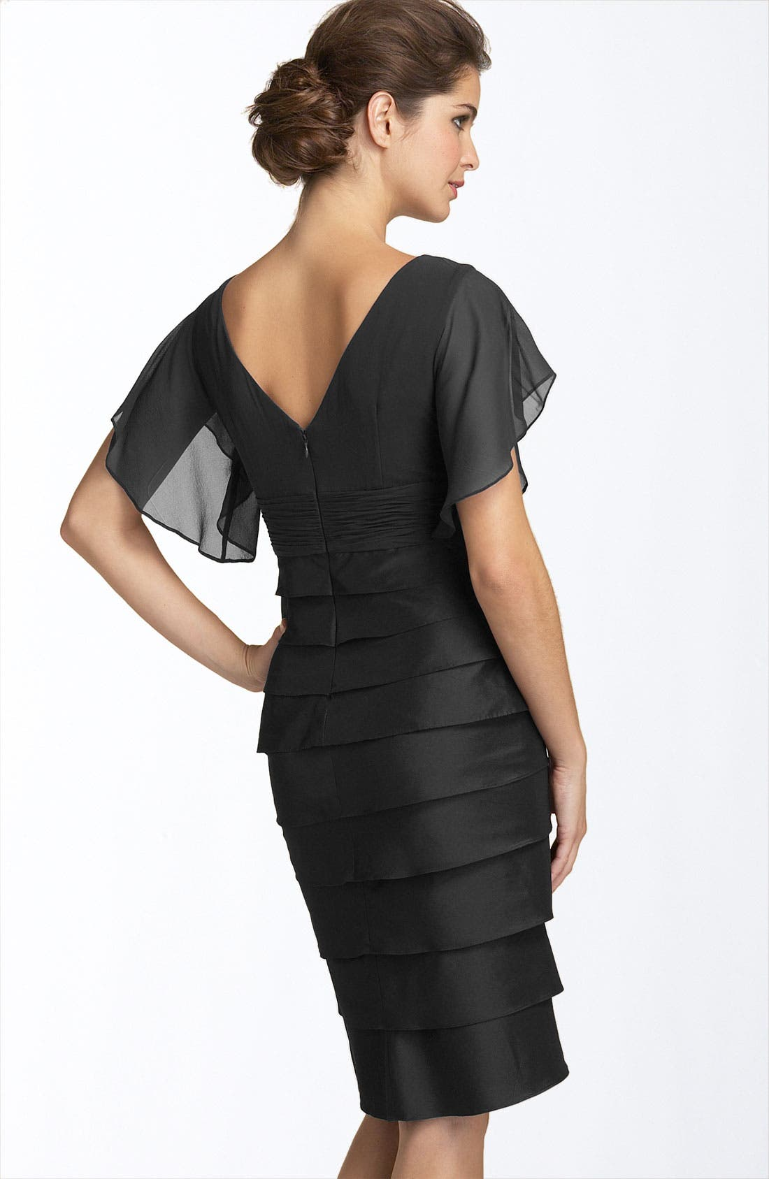 Alternate Image 2  - Adrianna Papell Flutter Sleeve Tiered Dress