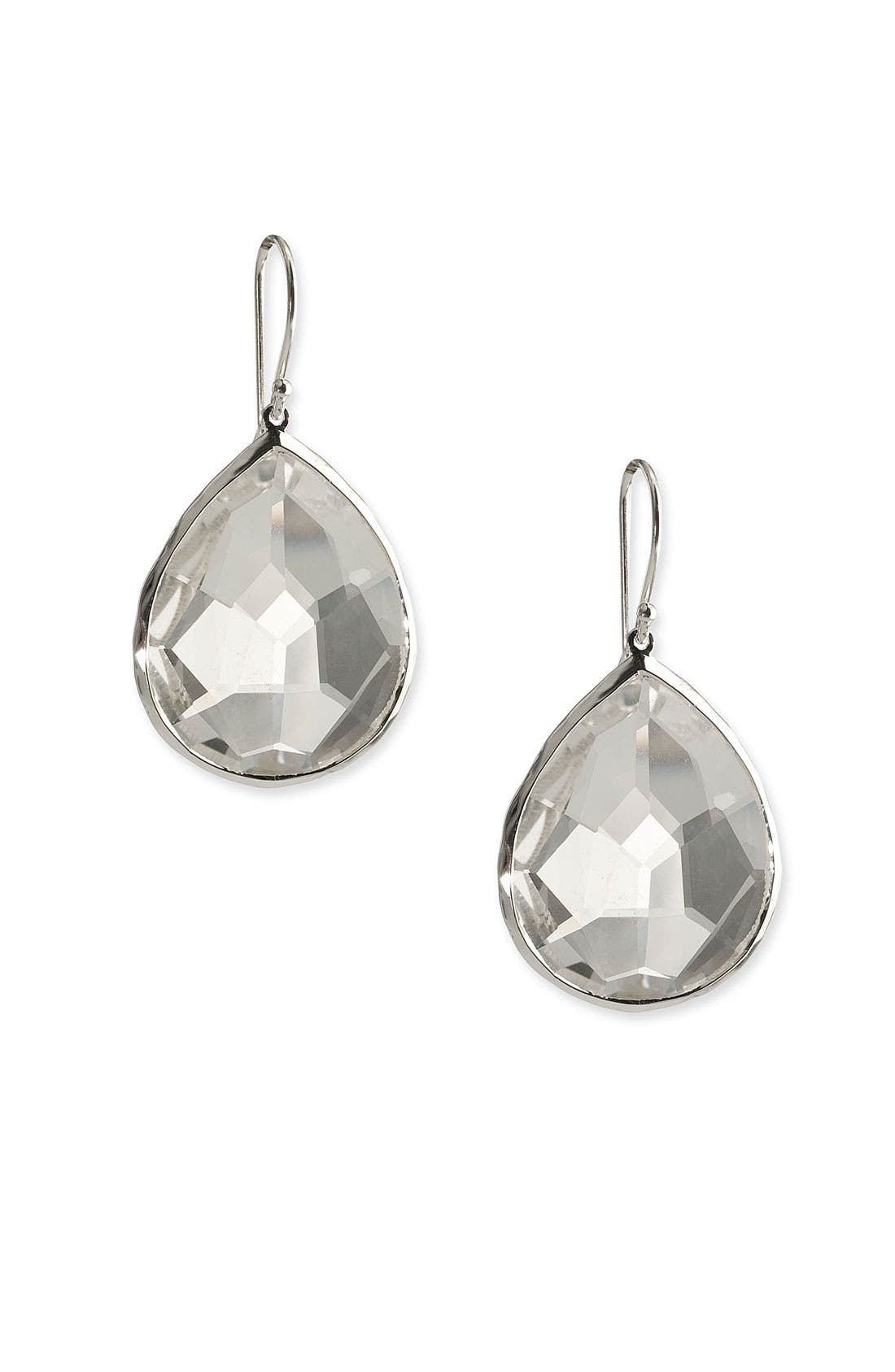 'Rock Candy' Semiprecious Teardrop Earrings,                         Main,                         color, Sterling Silver- Clear Quartz
