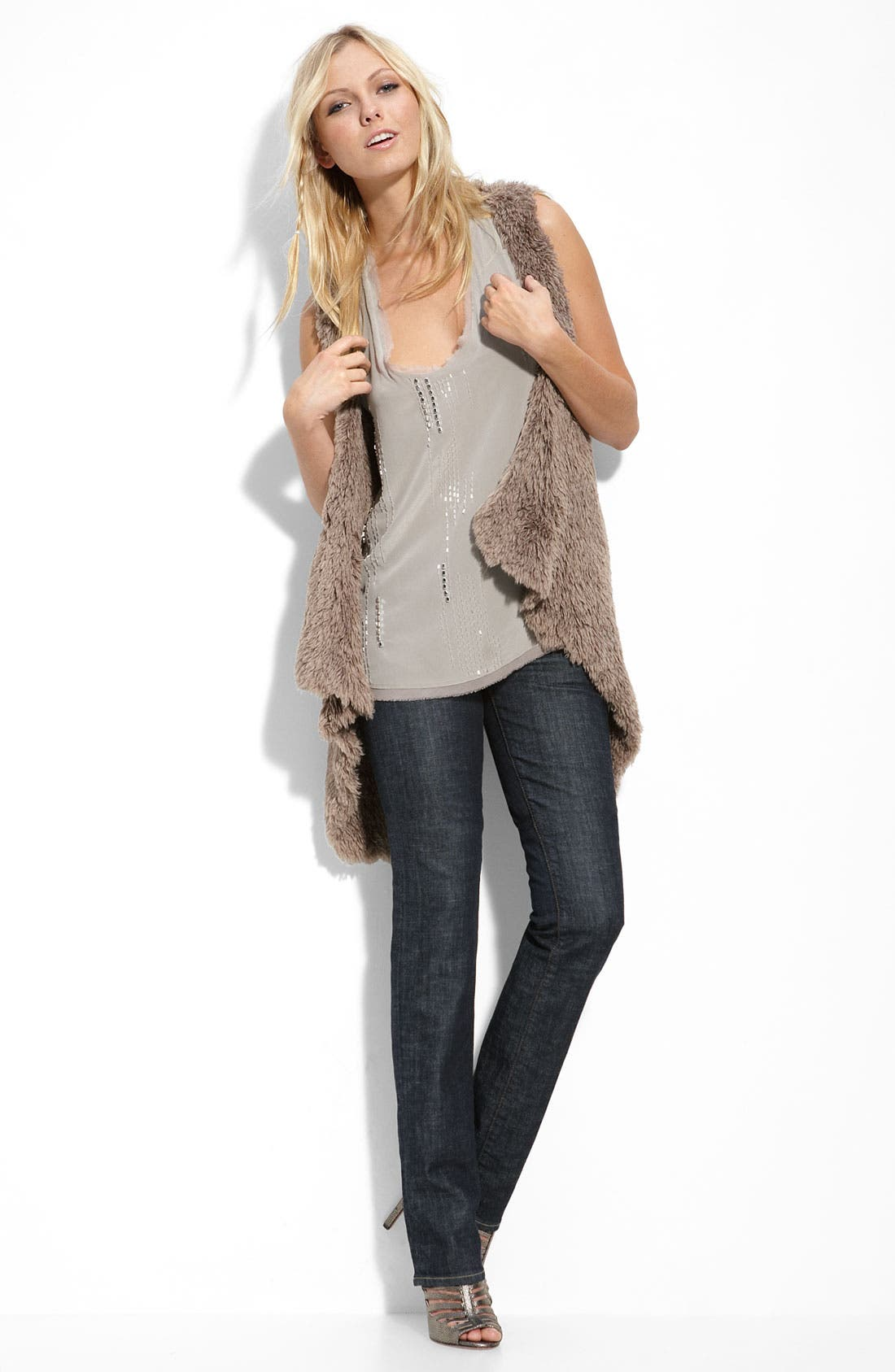 Pure Sugar Tank & Kensie Faux Fur Vest with Citizens of Humanity Stretch Jeans,                             Alternate thumbnail 1, color,