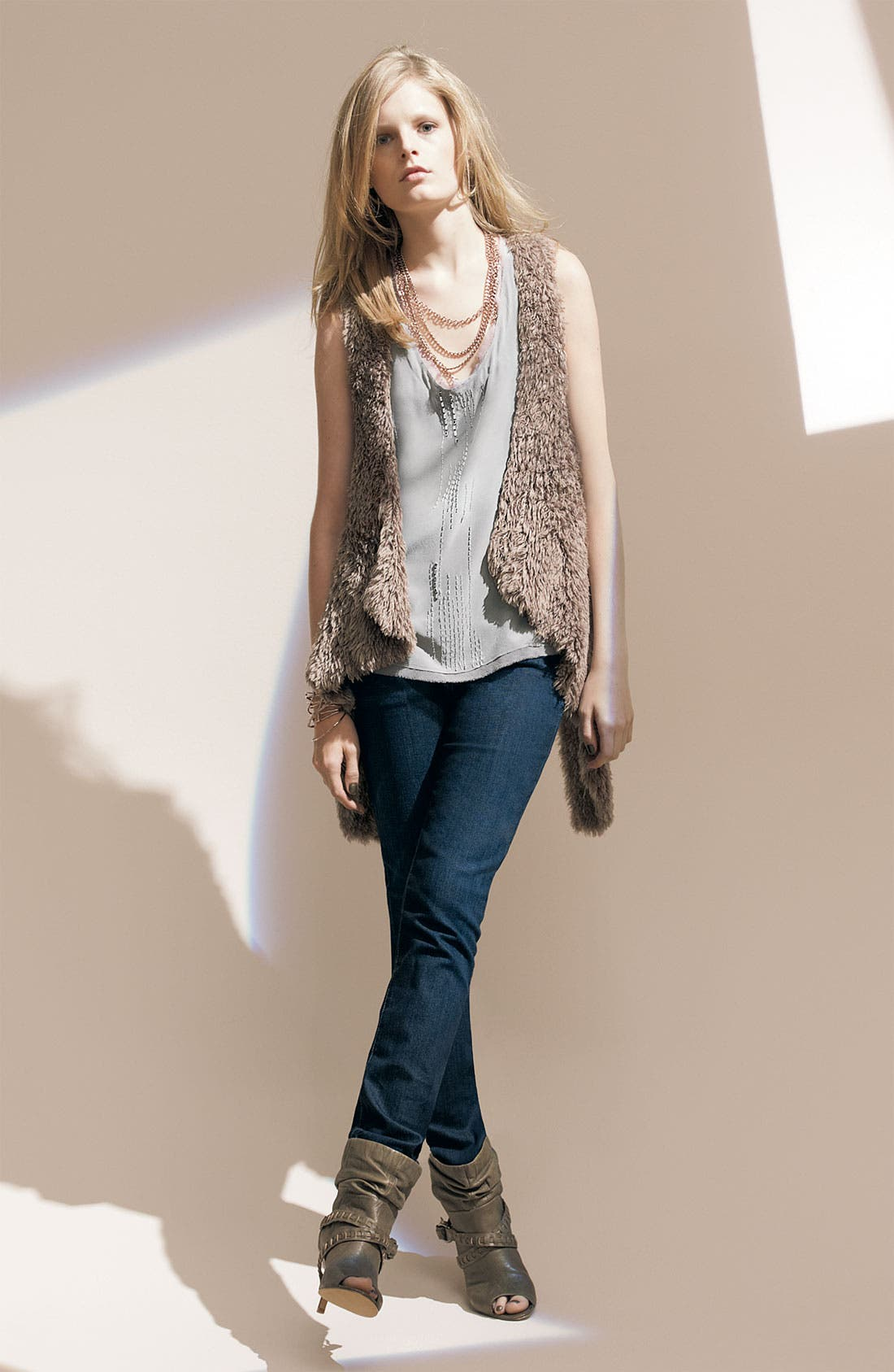 Pure Sugar Tank & Kensie Faux Fur Vest with Citizens of Humanity Stretch Jeans,                             Alternate thumbnail 2, color,